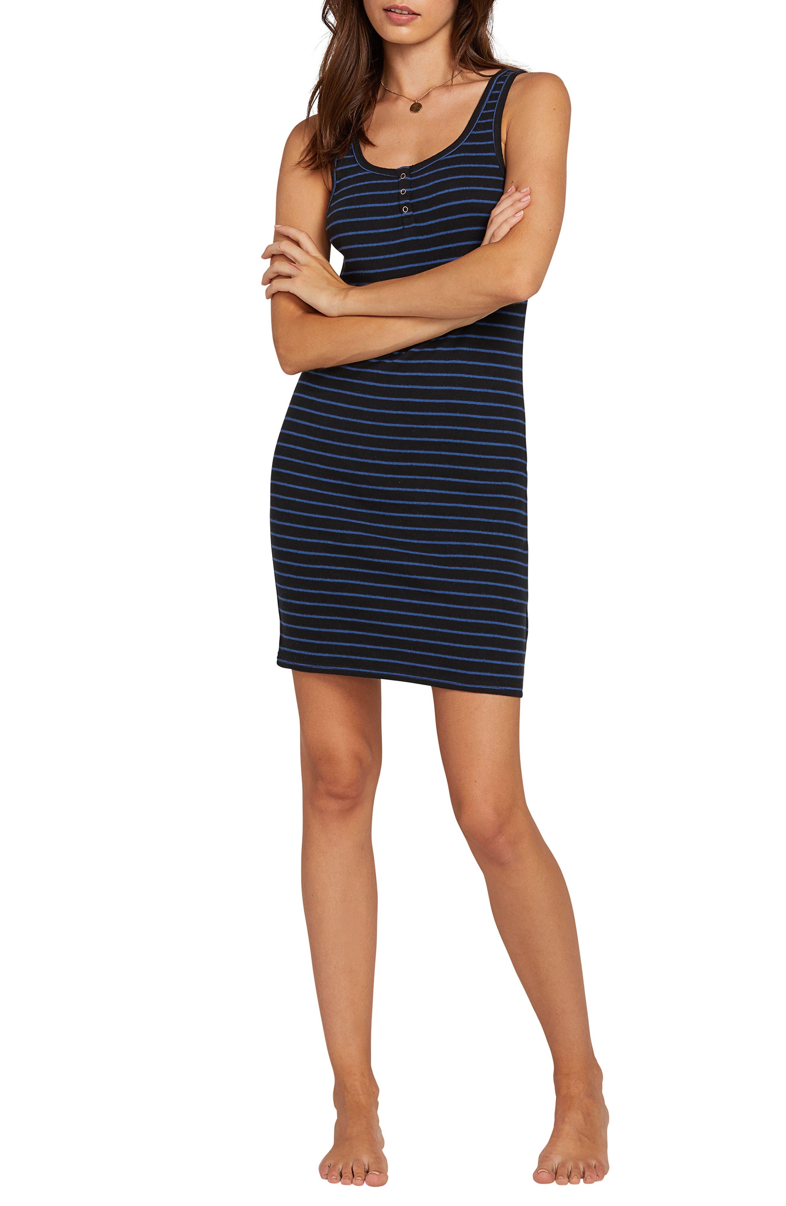 Volcom Lil Stripe Body-Con Minidress, Black