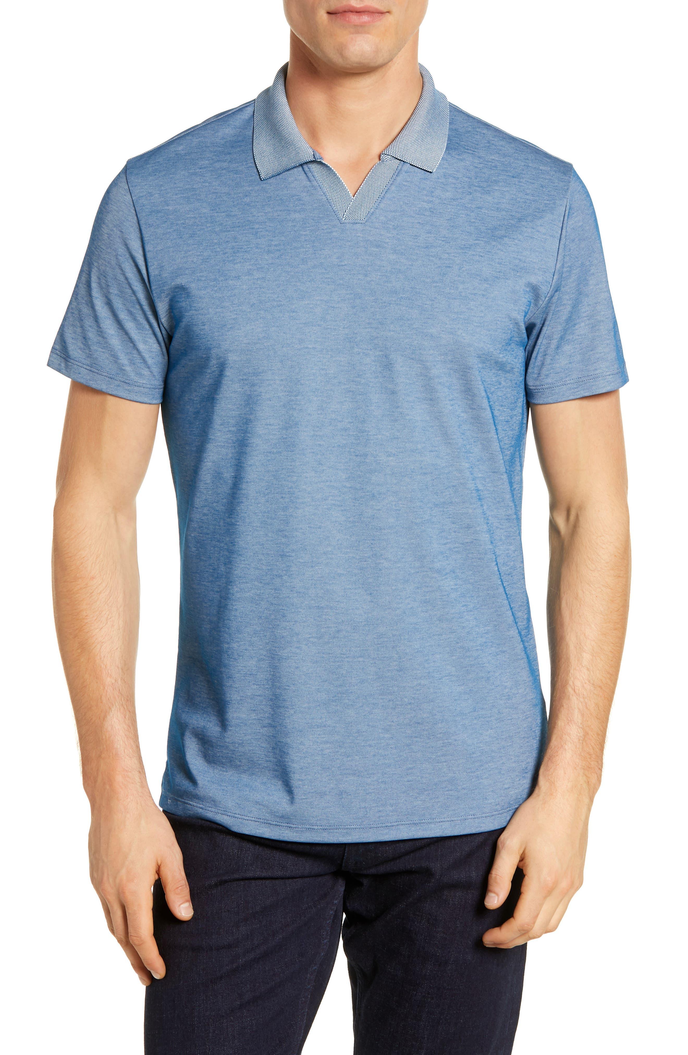 1930s Mens Shirts | Dress Shirts, Polo Shirts, Work Shirts Mens Robert Barakett Casey Johnny Collar Polo Size Large - Blue $95.00 AT vintagedancer.com