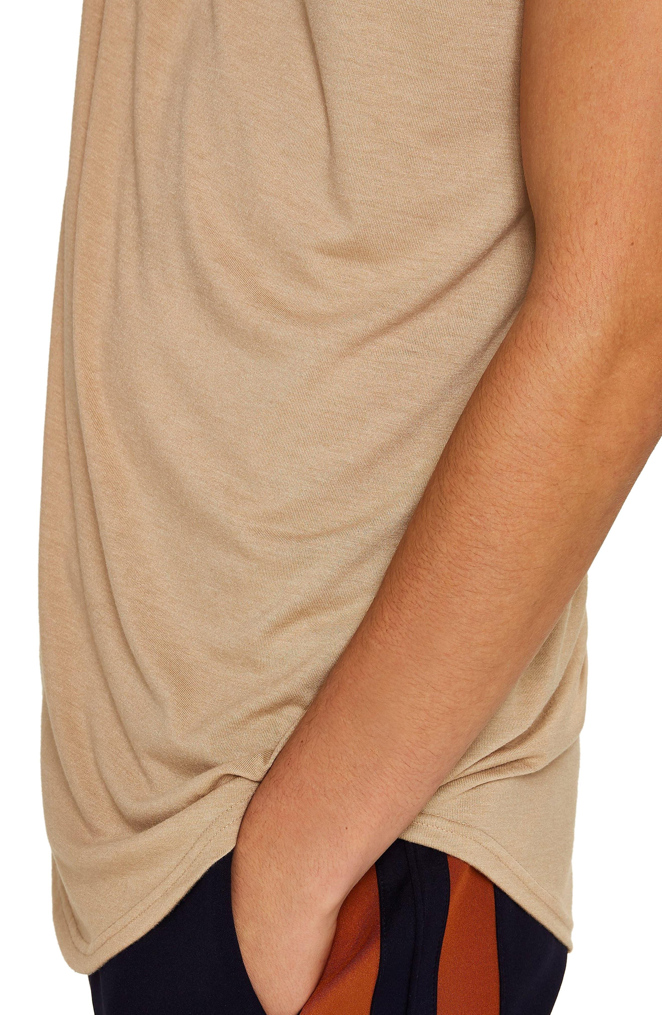 TOPMAN, Scotty Longline T-Shirt, Alternate thumbnail 4, color, STONE