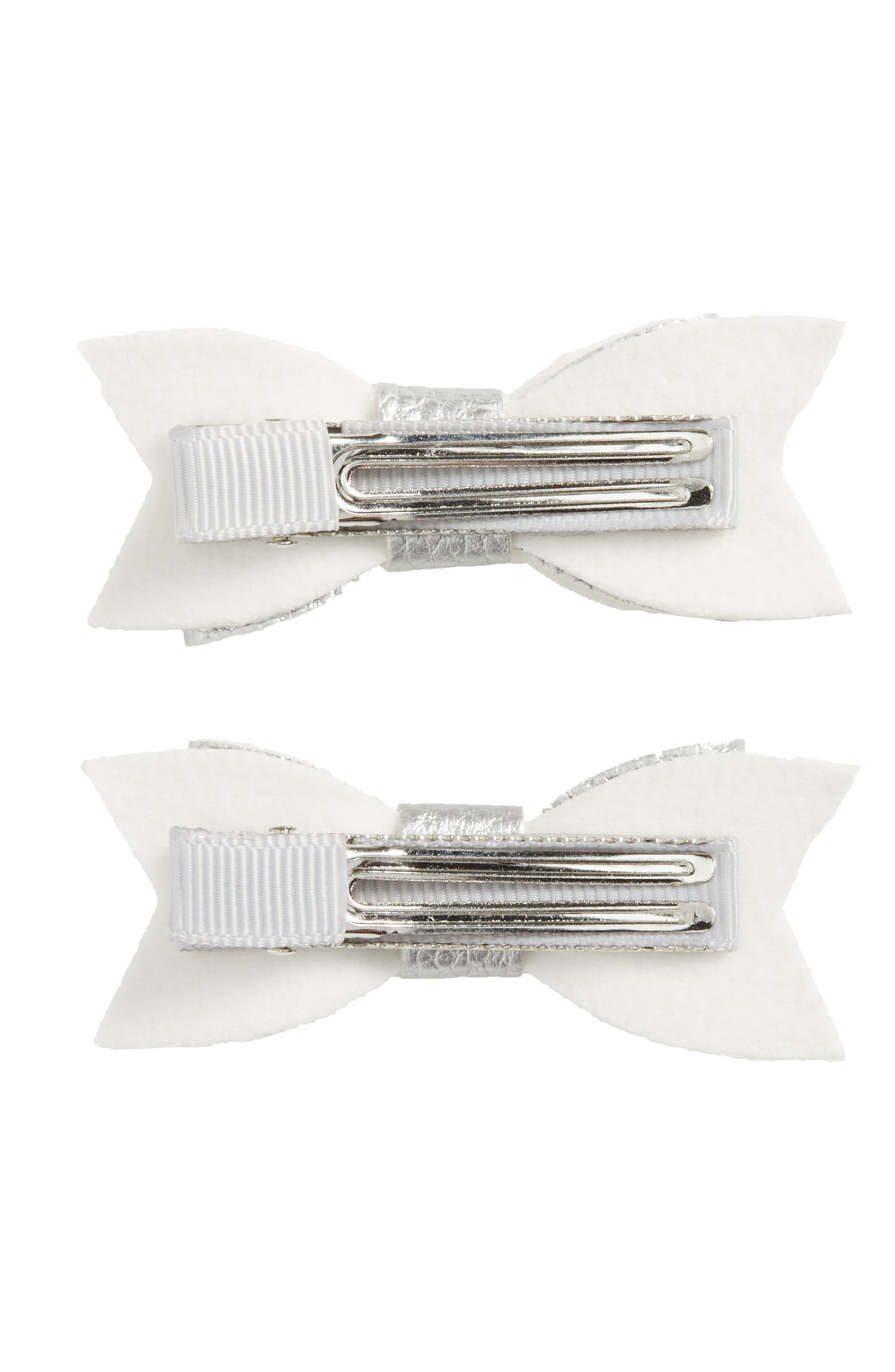 BABY BLING, 2-Pack Bow Clips, Alternate thumbnail 2, color, SILVER