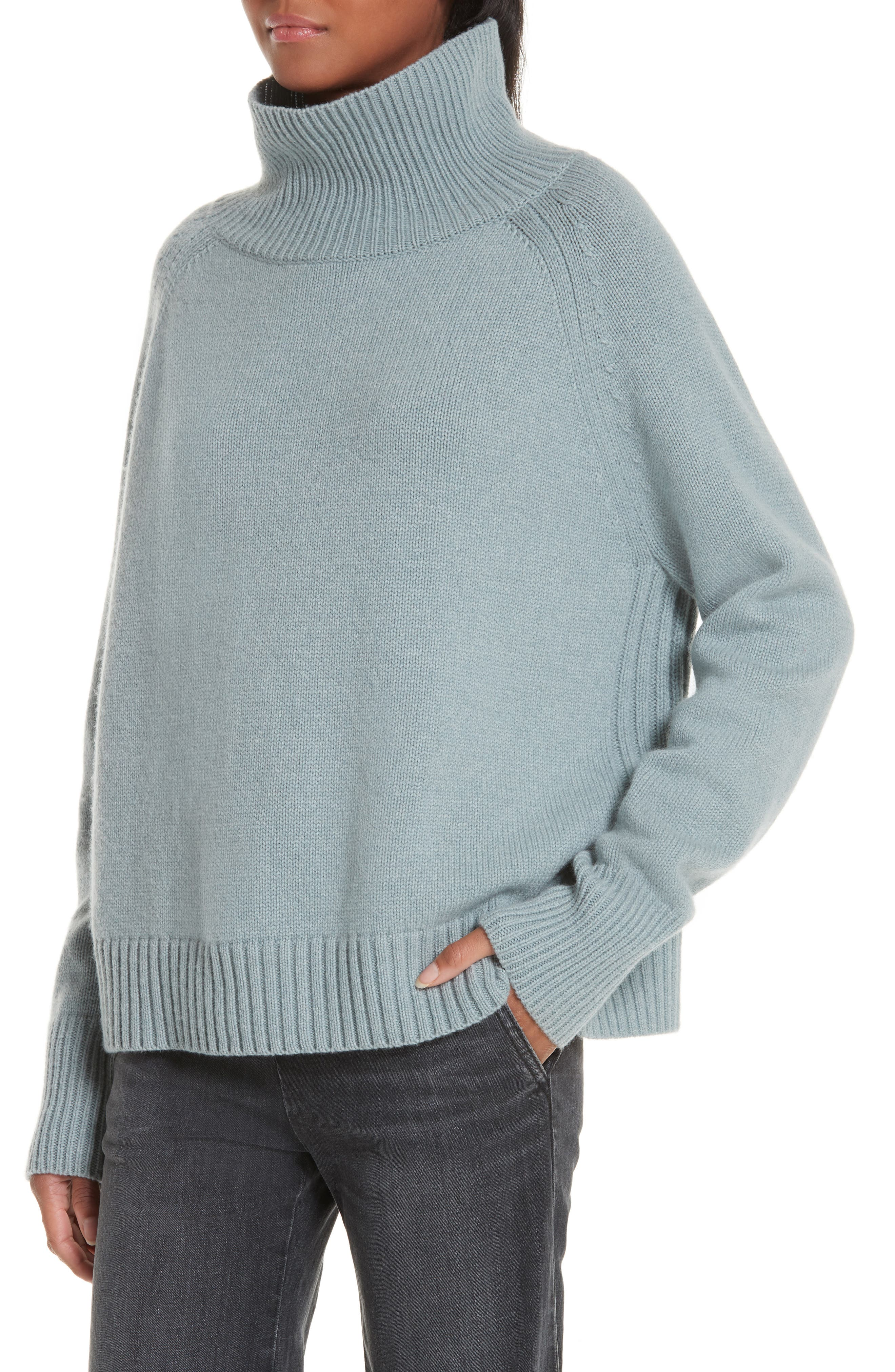 NILI LOTAN, Mariah Funnel Neck Cashmere Sweater, Alternate thumbnail 4, color, SKY BLUE