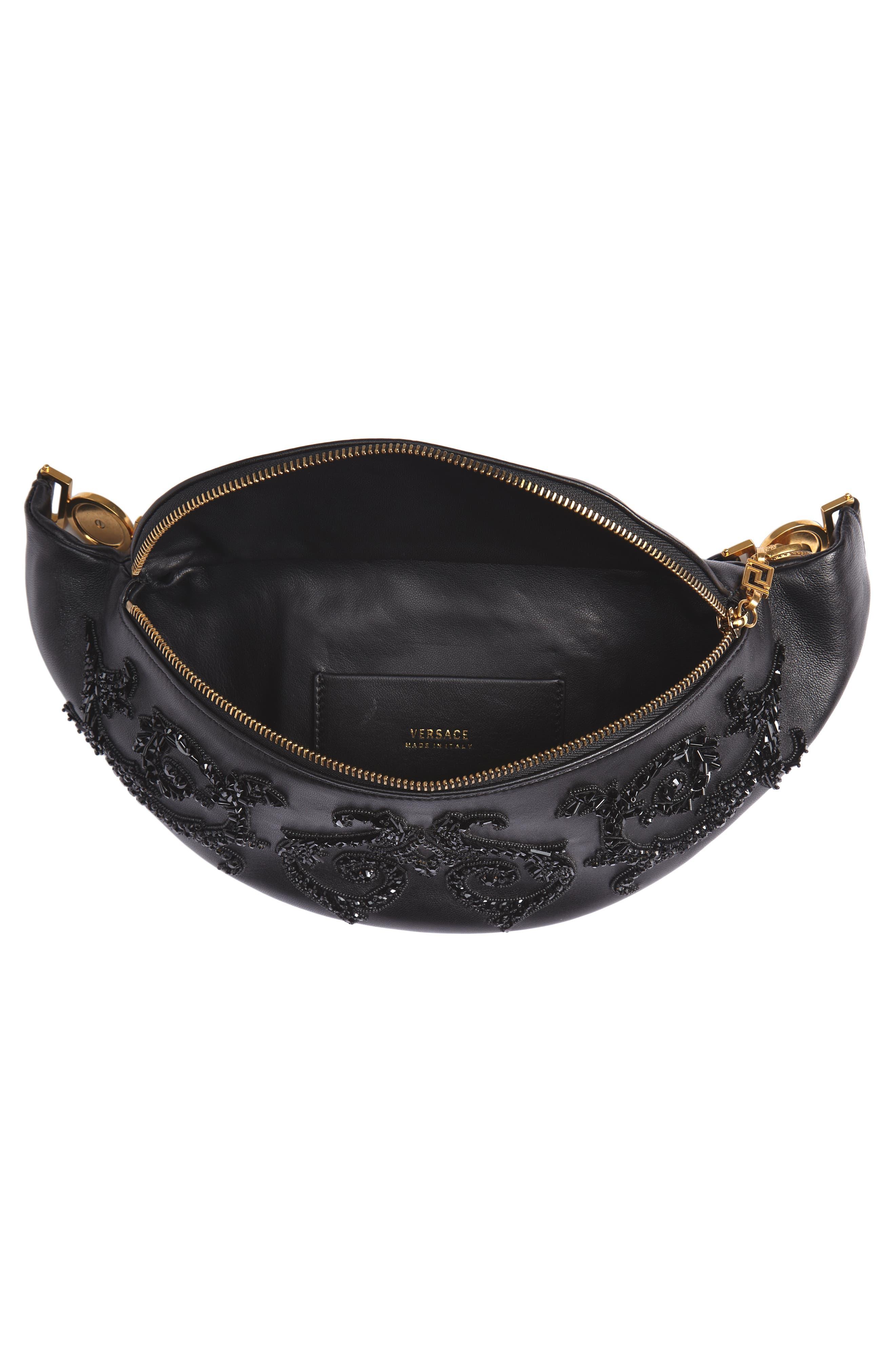 VERSACE COLLECTION, Versace Crystal Embellished Leather Belt Bag, Alternate thumbnail 5, color, NERO