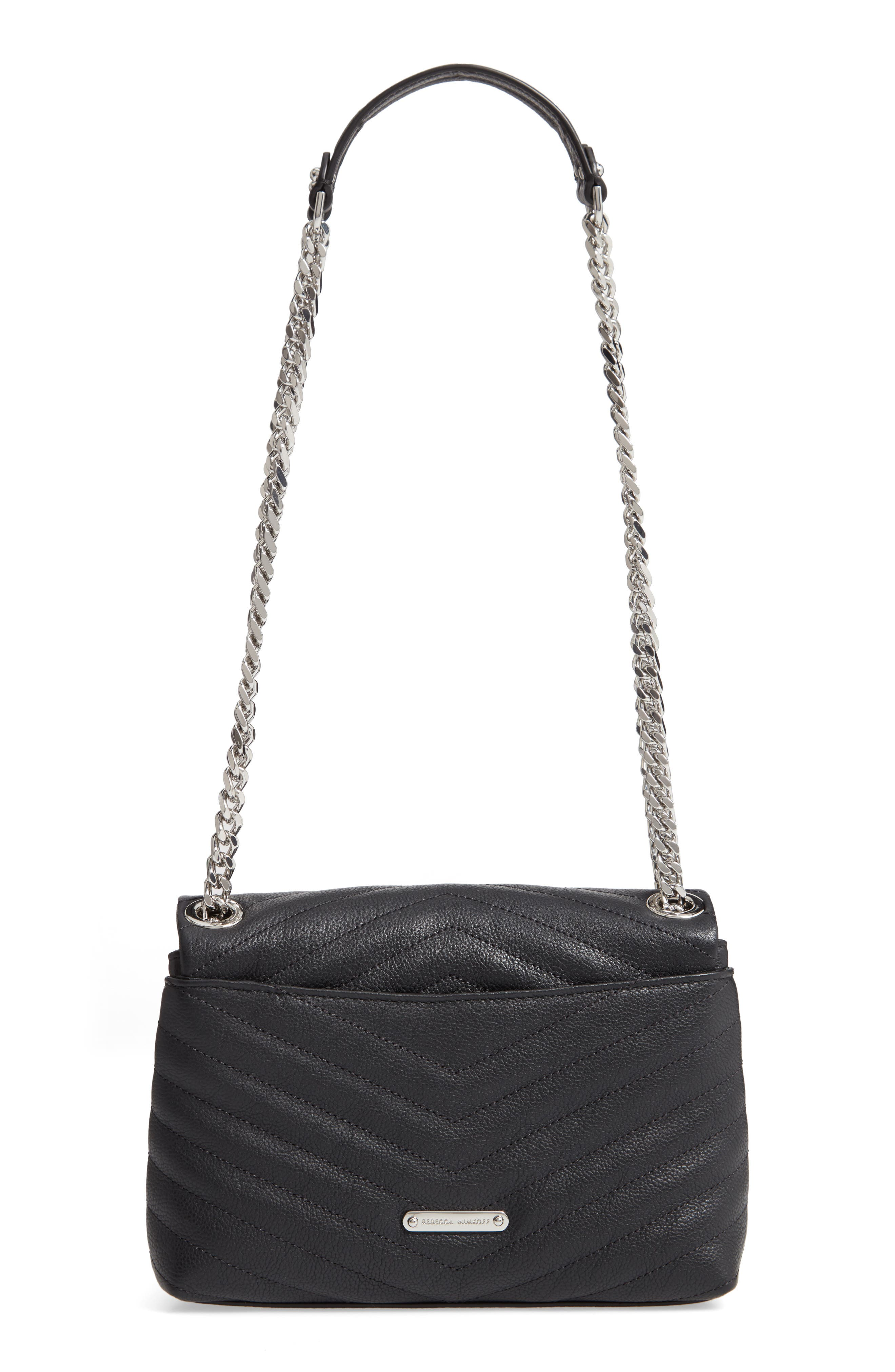 REBECCA MINKOFF, Edie Quilted Leather Crossbody Bag, Alternate thumbnail 4, color, BLACK