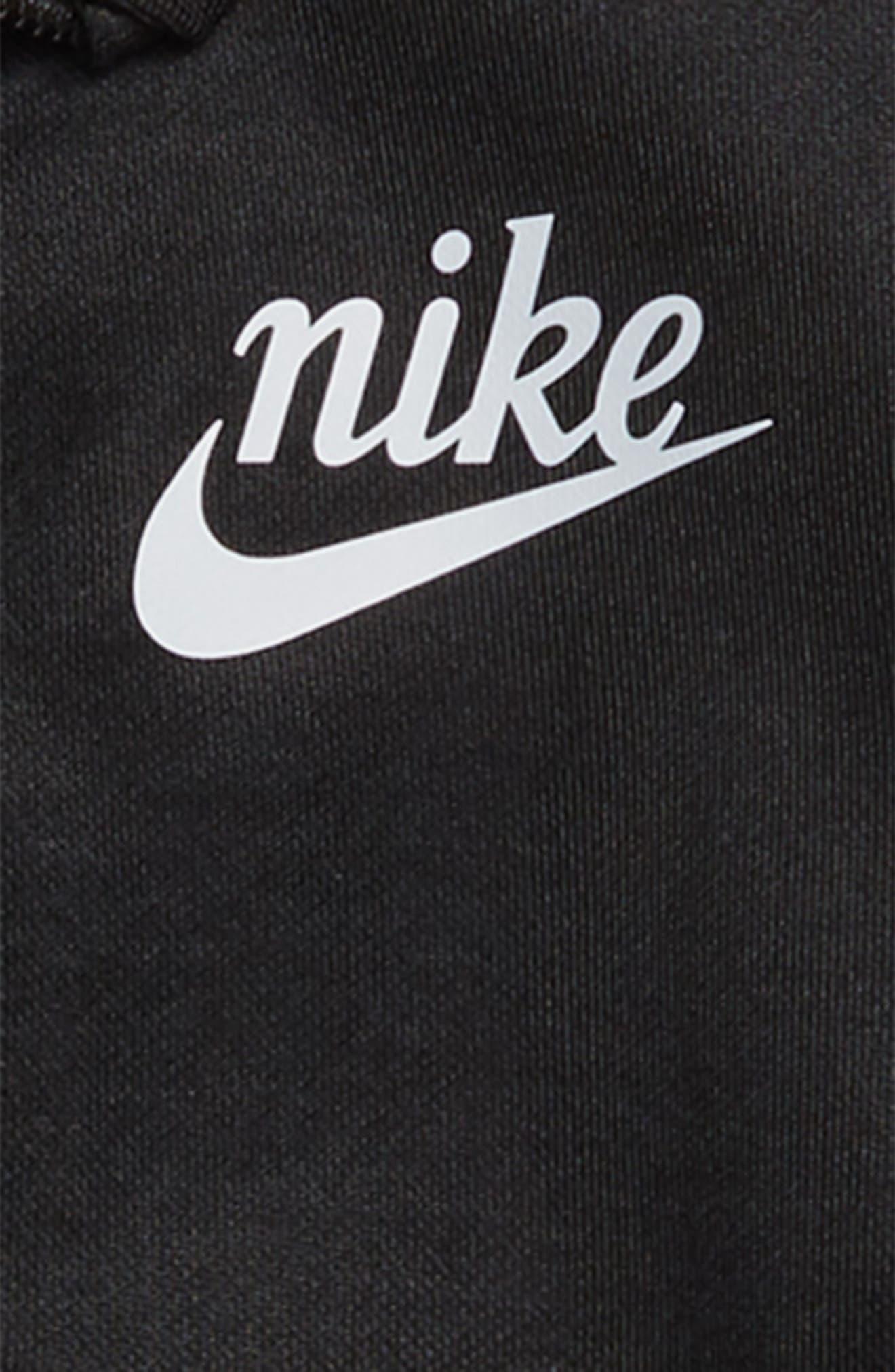 NIKE, Icon Shiny Crop Track Jacket, Alternate thumbnail 2, color, BLACK/ PALE IVORY/ SILVER