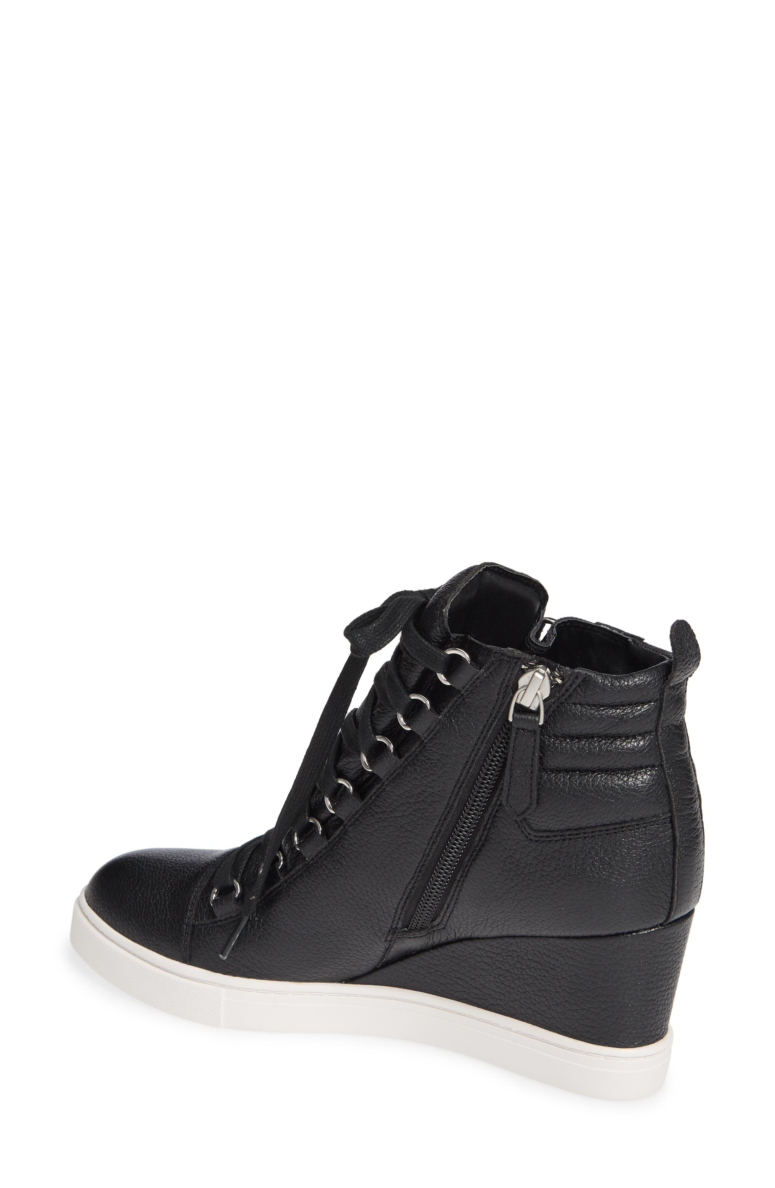 LINEA PAOLO, Fenton Wedge Sneaker, Alternate thumbnail 2, color, BLACK TUMBLED LEATHER