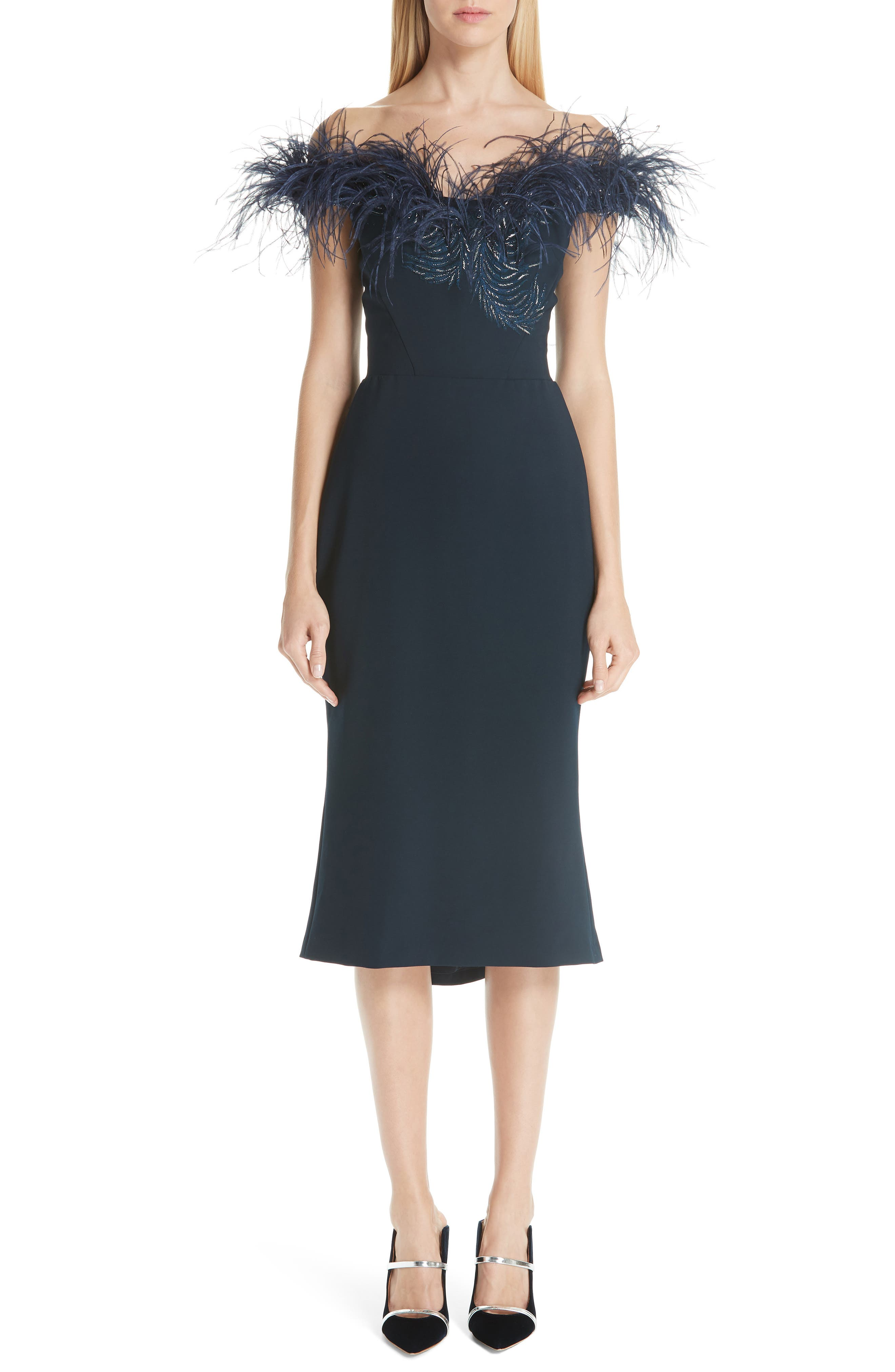MARCHESA, Off the Shoulder Feather Cocktail Dress, Main thumbnail 1, color, NAVY