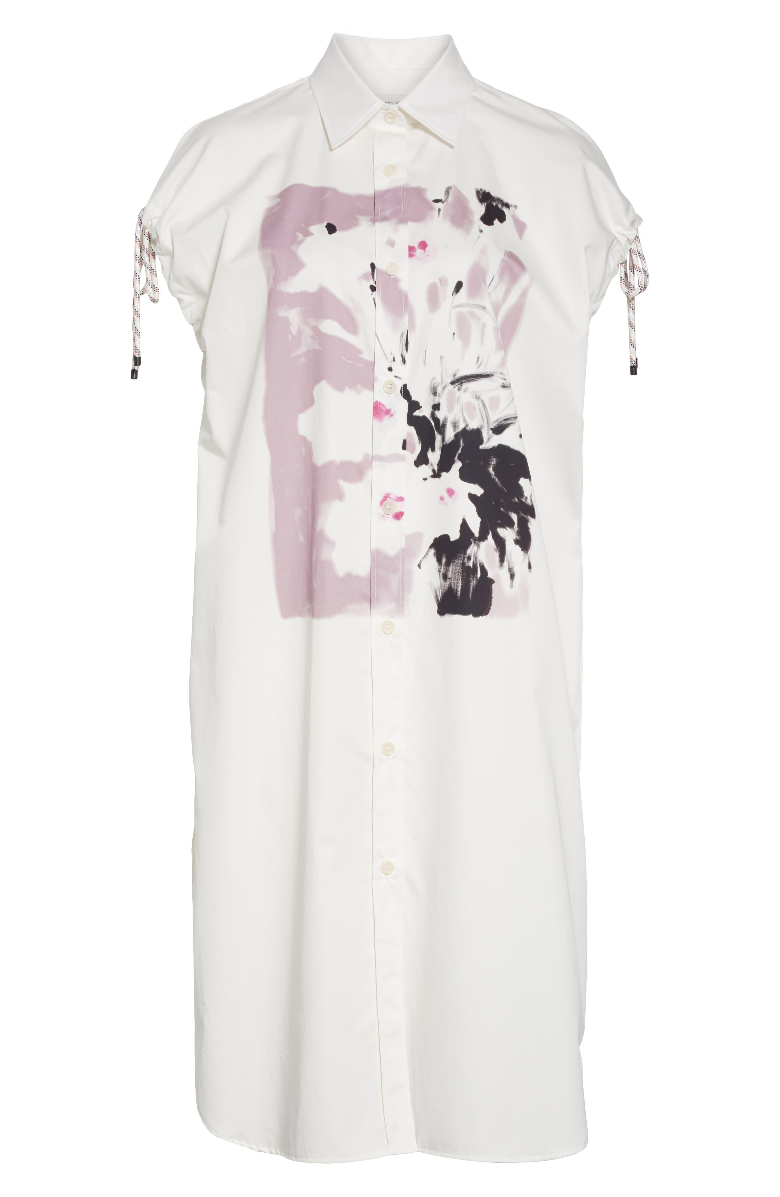 DRIES VAN NOTEN, Dantia Floral Print Cotton Shirt, Alternate thumbnail 6, color, LILAC