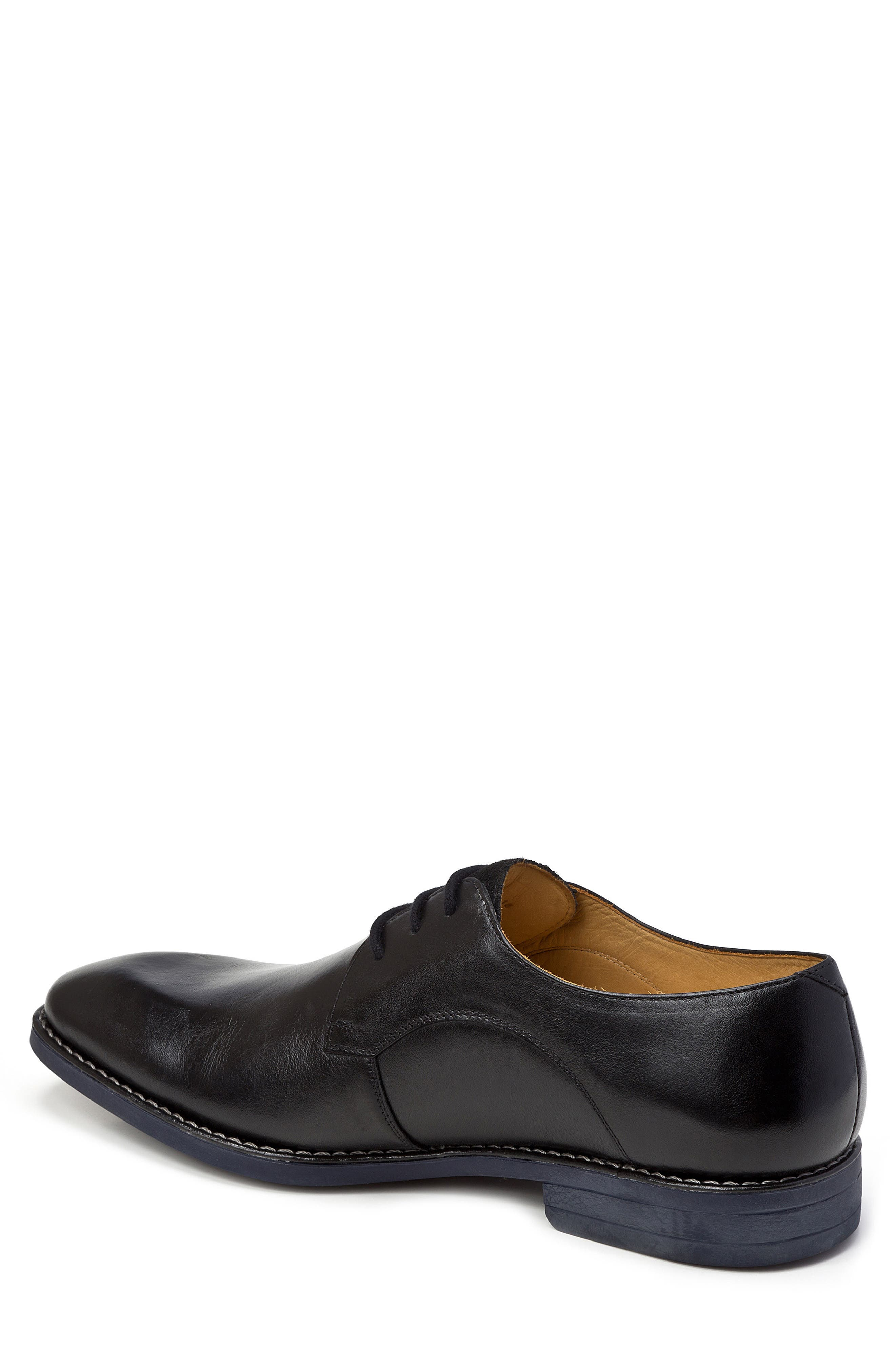 SANDRO MOSCOLONI, Garret Plain Toe Derby, Alternate thumbnail 2, color, BLACK LEATHER
