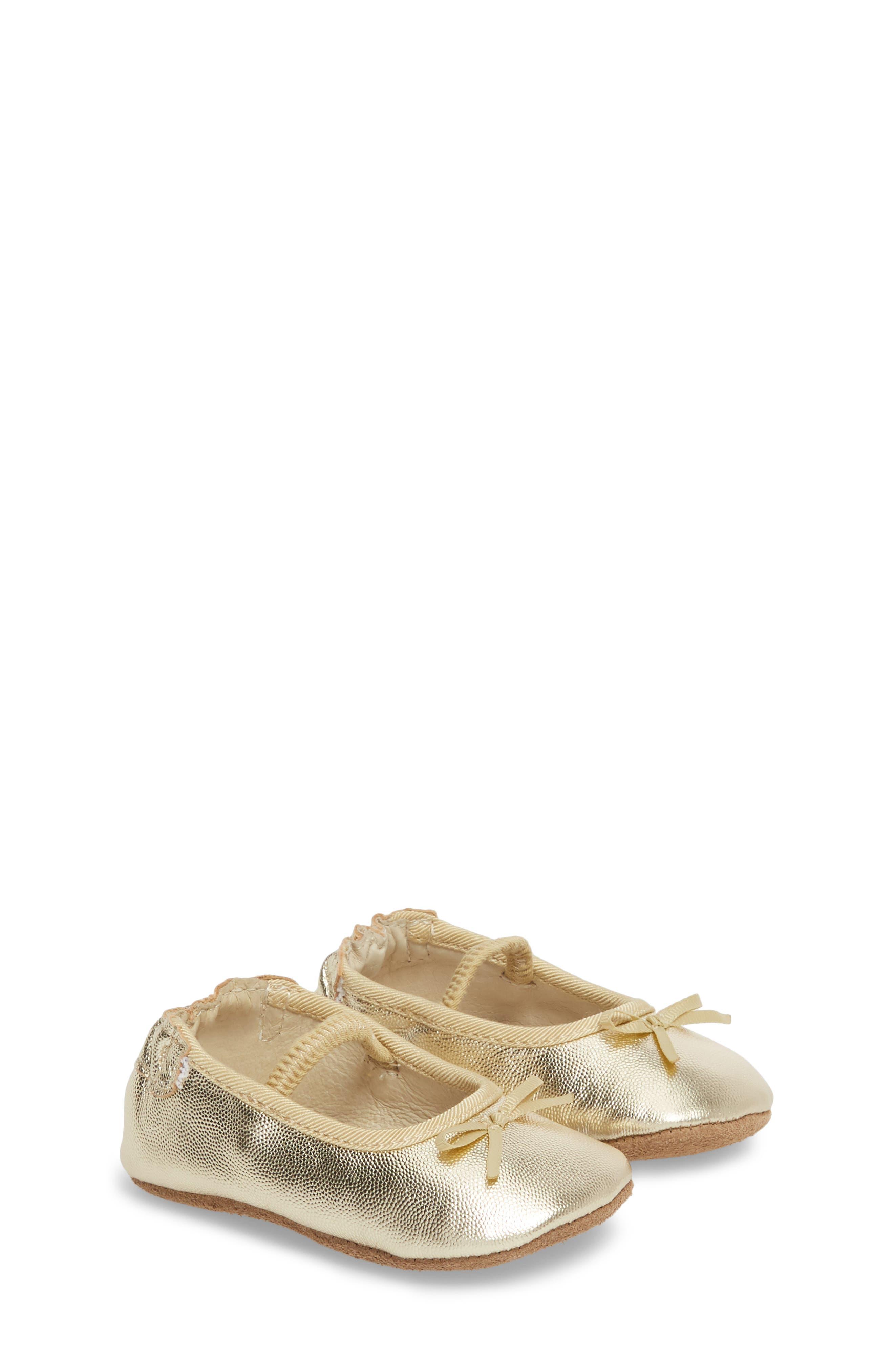 ROBEEZ<SUP>®</SUP>, Athena Ballet Strap Crib Shoe, Main thumbnail 1, color, GOLD