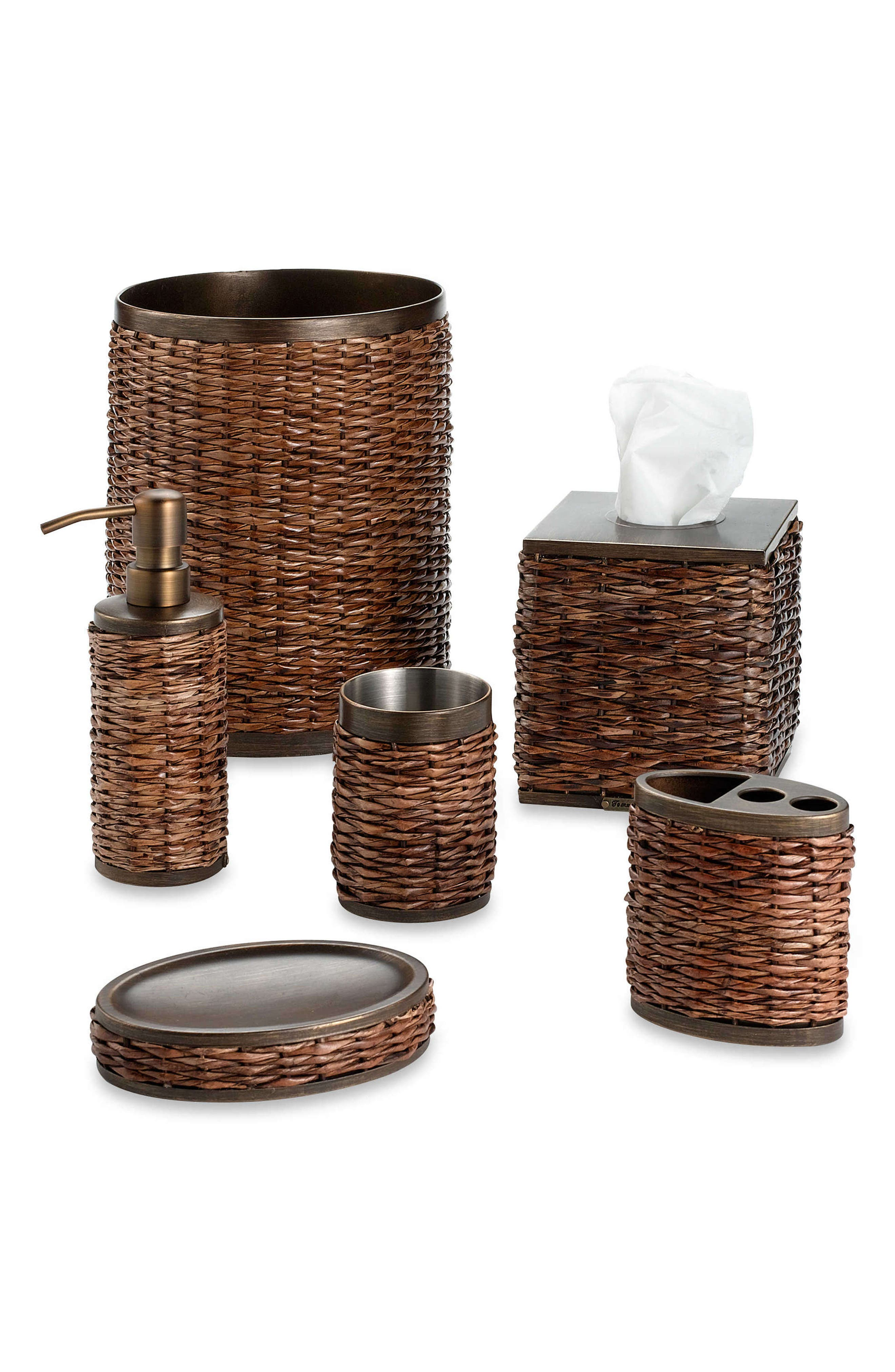 TOMMY BAHAMA, Retreat Wicker Tissue Box Cover, Alternate thumbnail 2, color, DARK BROWN