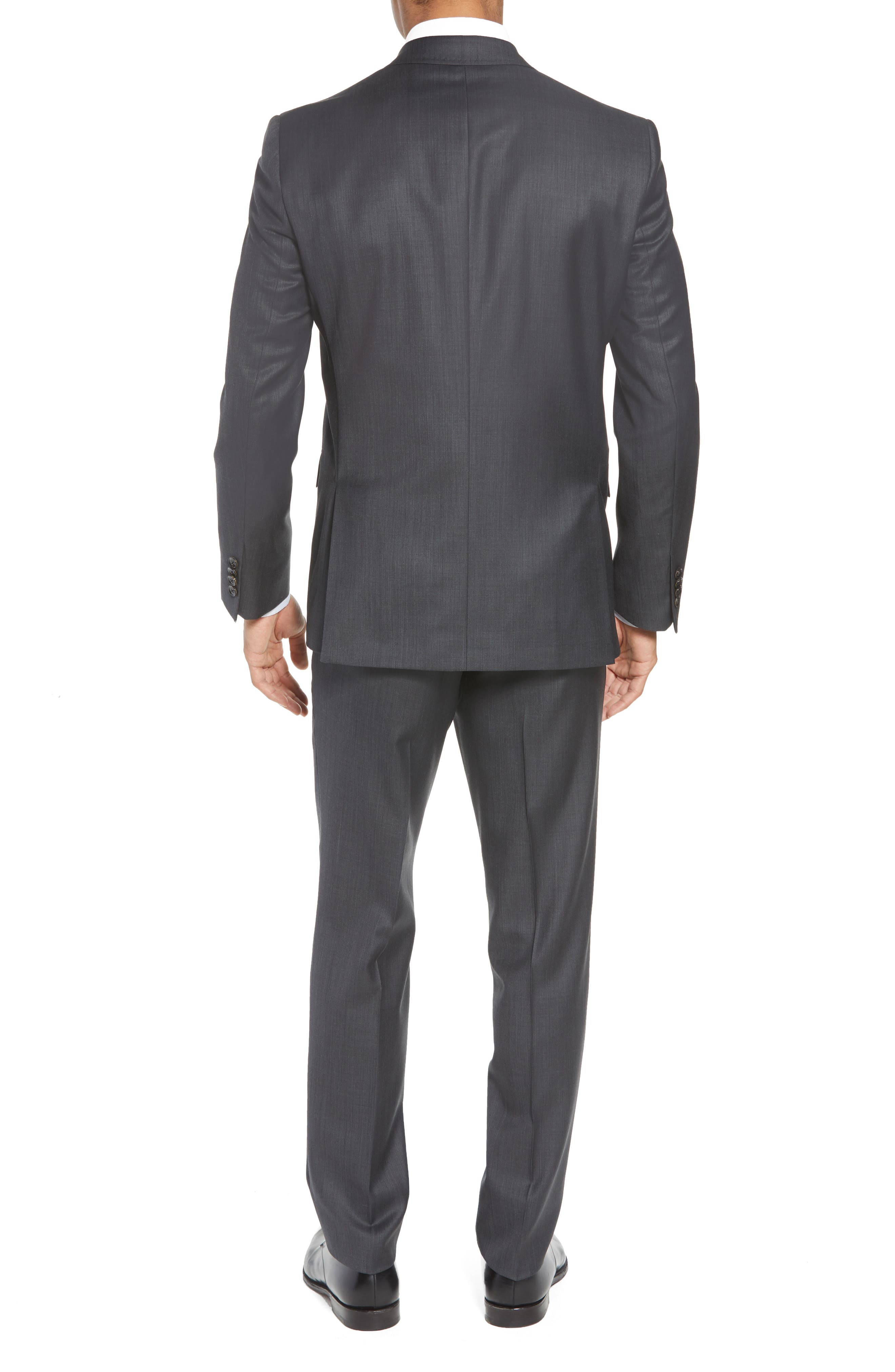 TED BAKER LONDON, ay' Trim Fit Solid Wool Suit, Alternate thumbnail 2, color, CHARCOAL
