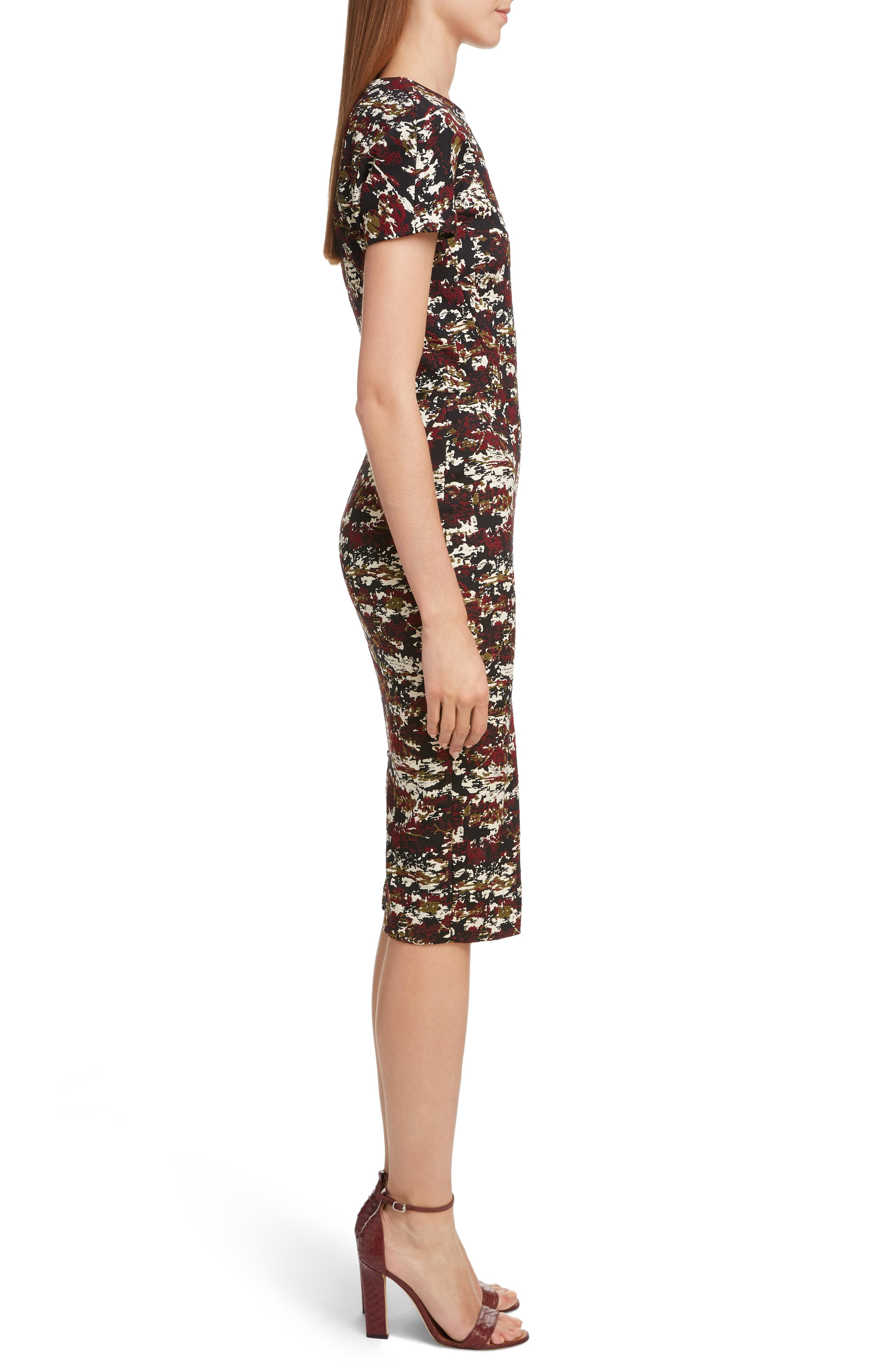 VICTORIA BECKHAM, Camouflage Jacquard Dress, Alternate thumbnail 3, color, BORDEAUX-BLACK