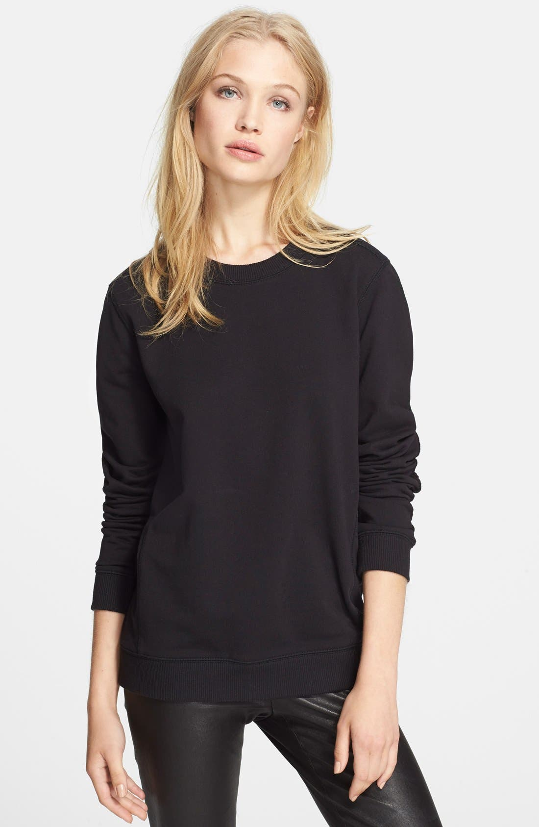 VINCE, Quilted Detail Sweatshirt, Main thumbnail 1, color, 001