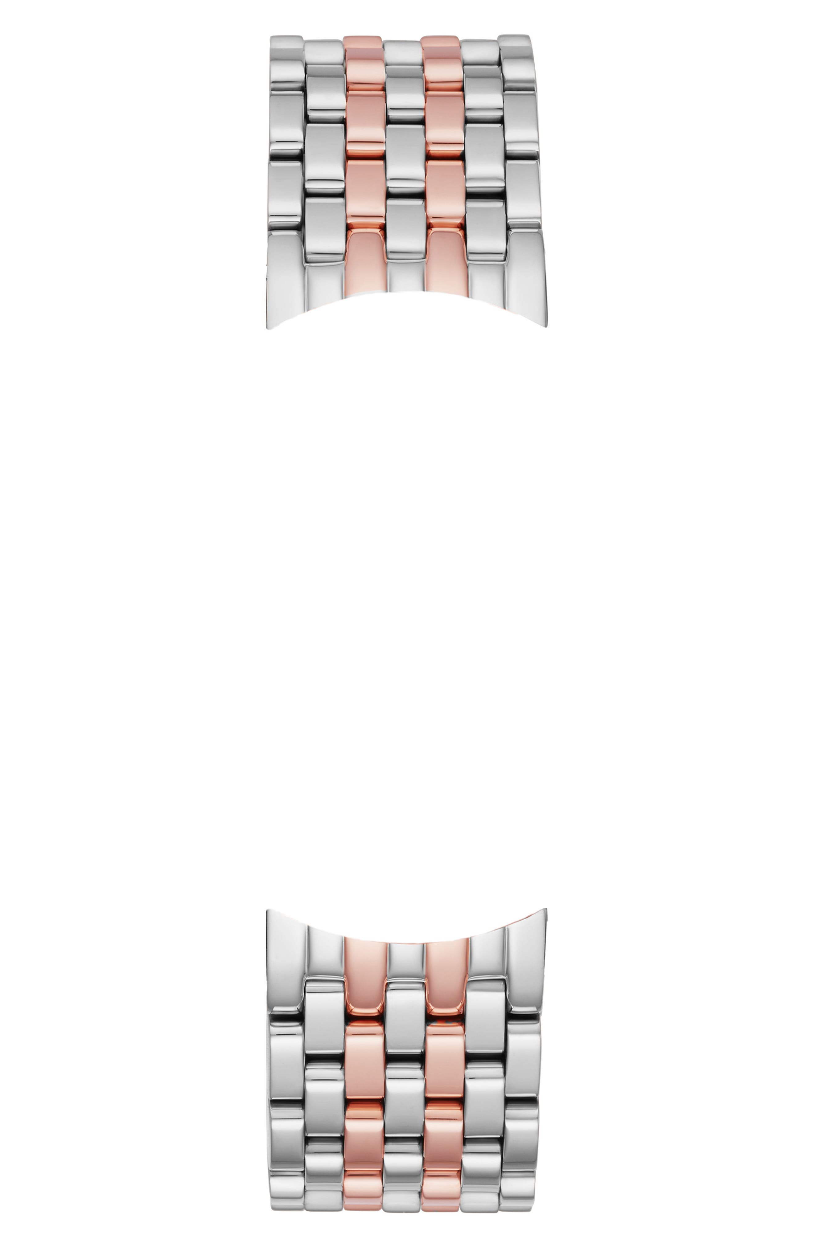 MICHELE, Sidney 18mm Two-Tone Watch Bracelet, Alternate thumbnail 2, color, SILVER/ WHITE/ ROSE GOLD