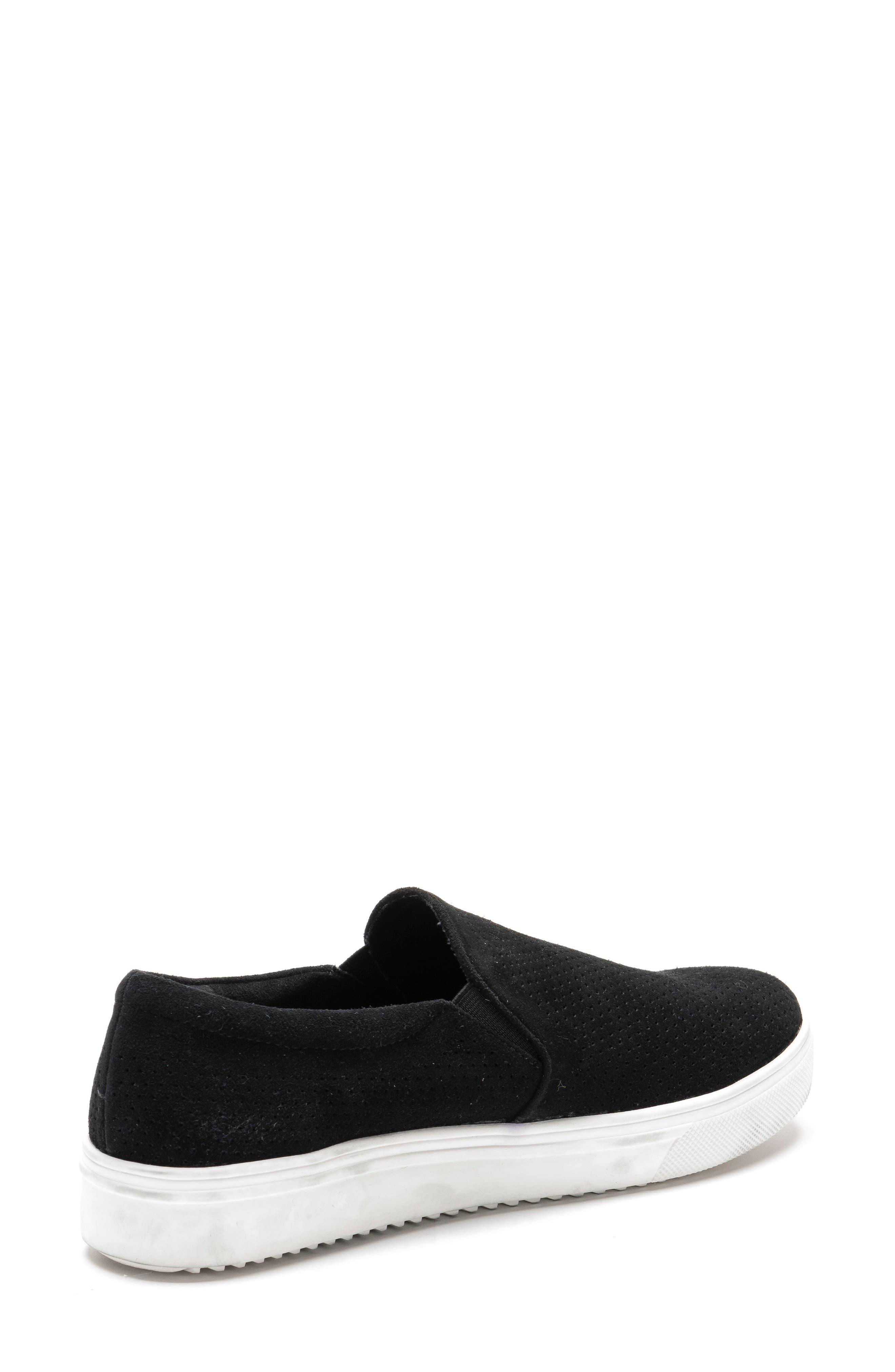 BLONDO, Gallert Perforated Waterproof Platform Sneaker, Alternate thumbnail 2, color, BLACK SUEDE