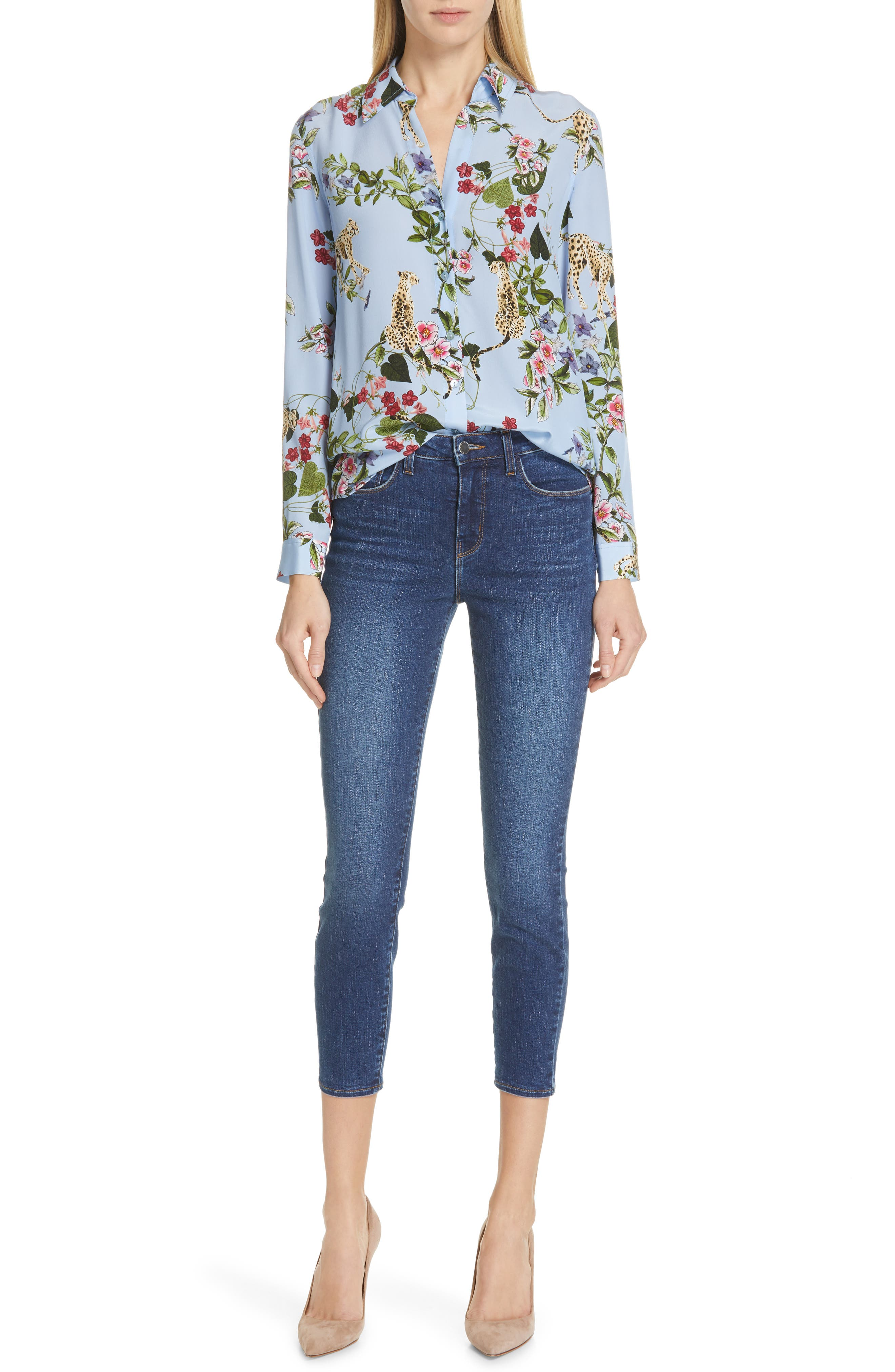 L'AGENCE, Margot Crop Skinny Jeans, Alternate thumbnail 8, color, TUSCAN