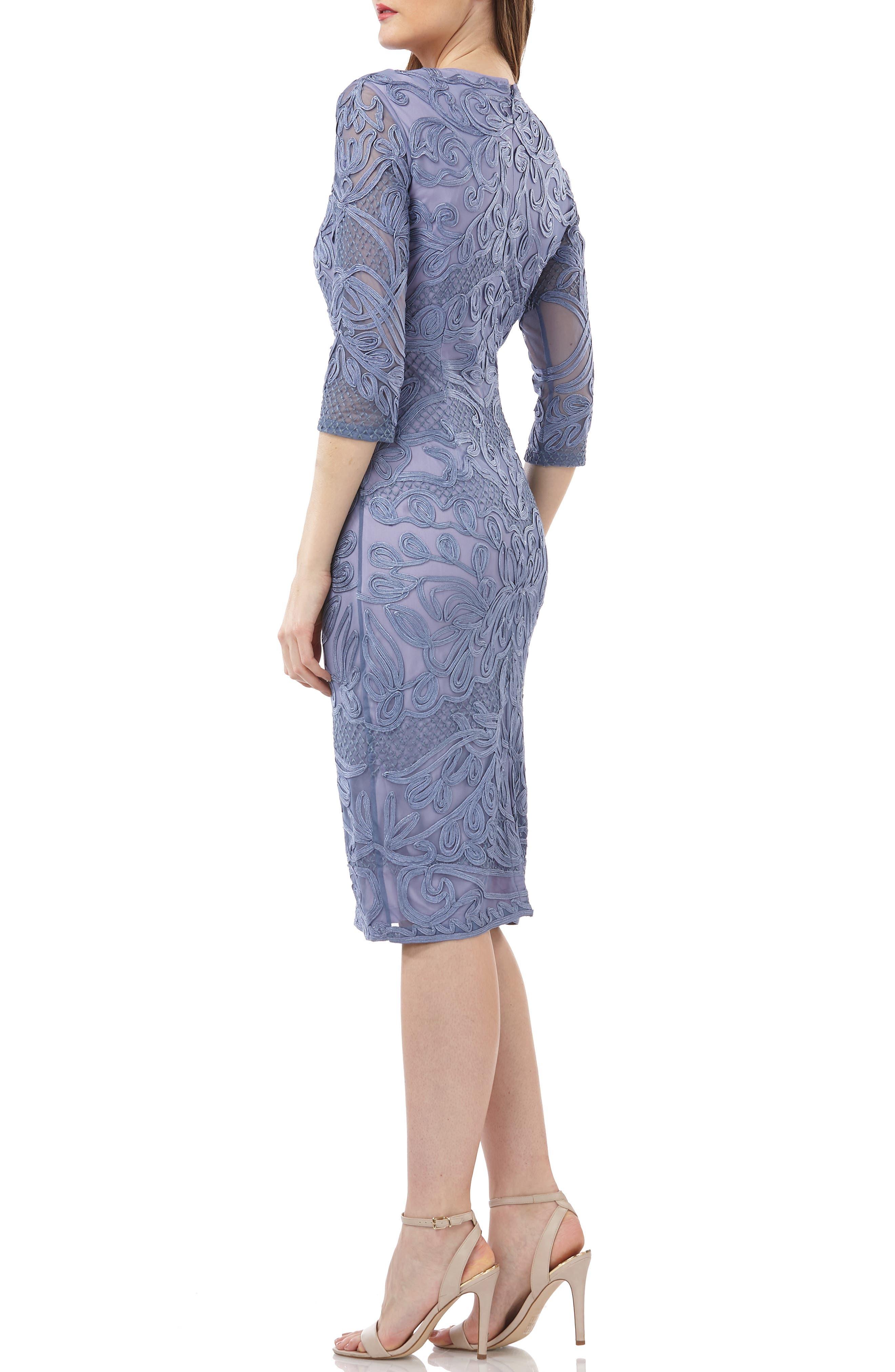 JS COLLECTIONS, Soutache Sheath Dress, Alternate thumbnail 2, color, PERIWINKLE
