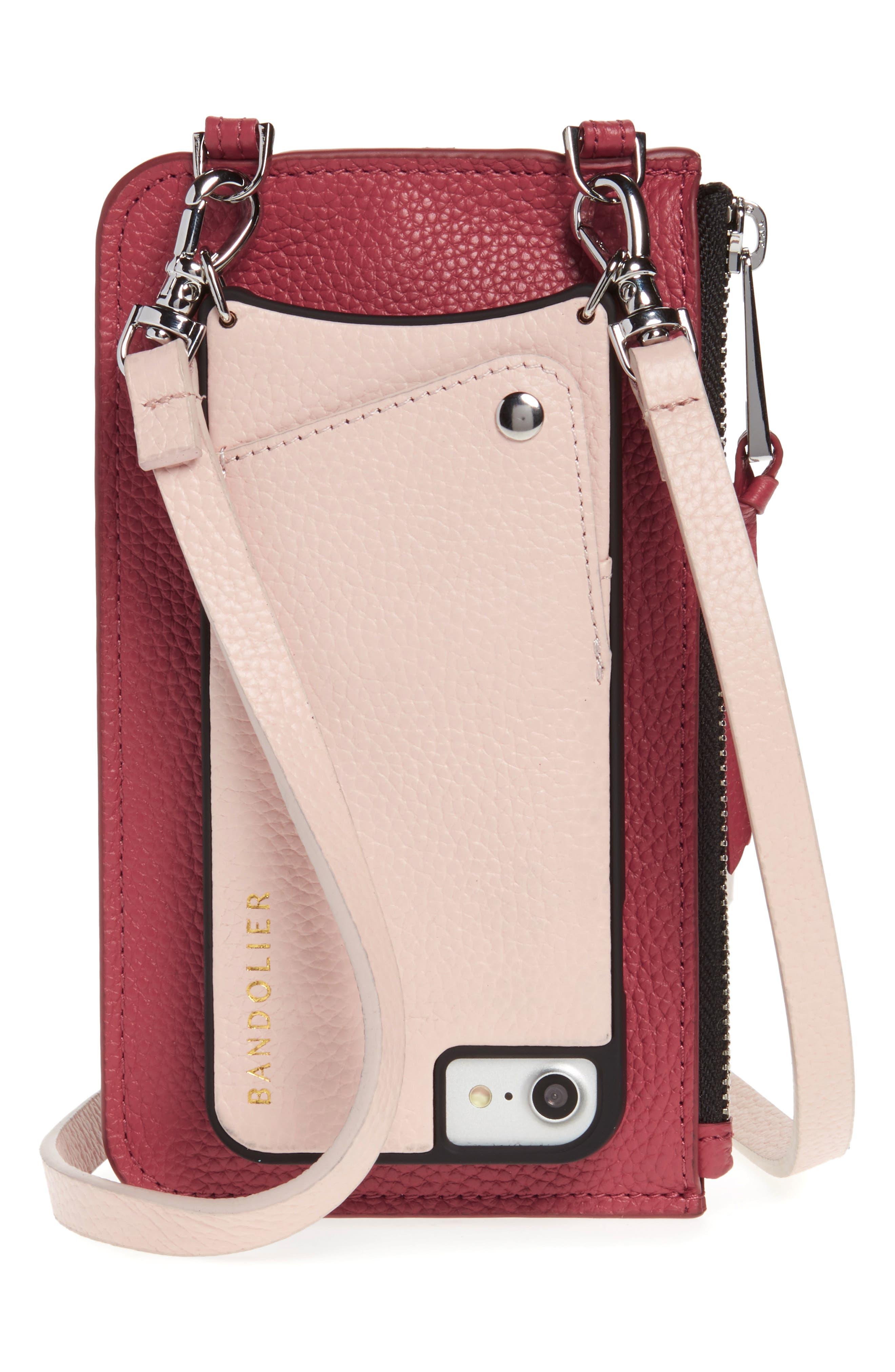 BANDOLIER, Emma Leather iPhone 7/8 & 7/8 Plus Crossbody Case, Main thumbnail 1, color, PINK/ MAUVE