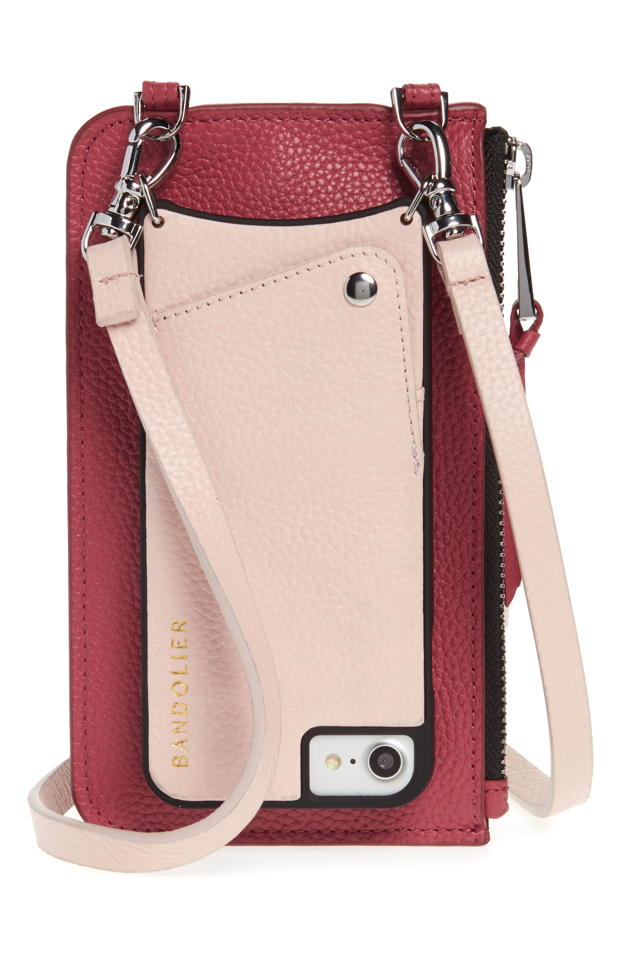 BANDOLIER Emma Leather iPhone 7/8 & 7/8 Plus Crossbody Case, Main, color, PINK/ MAUVE