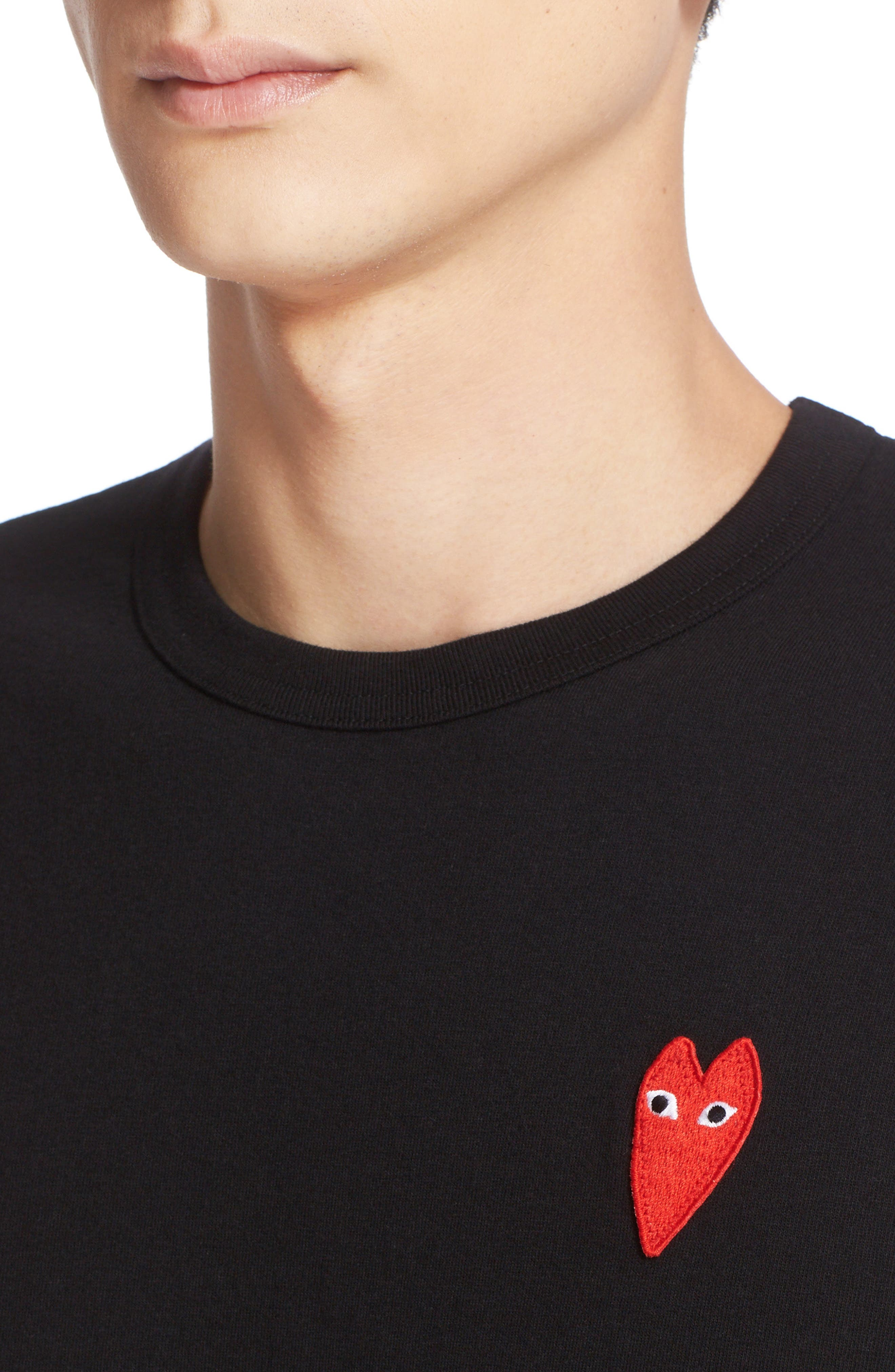 COMME DES GARÇONS PLAY, Stretch Face Heart T-Shirt, Alternate thumbnail 4, color, BLACK
