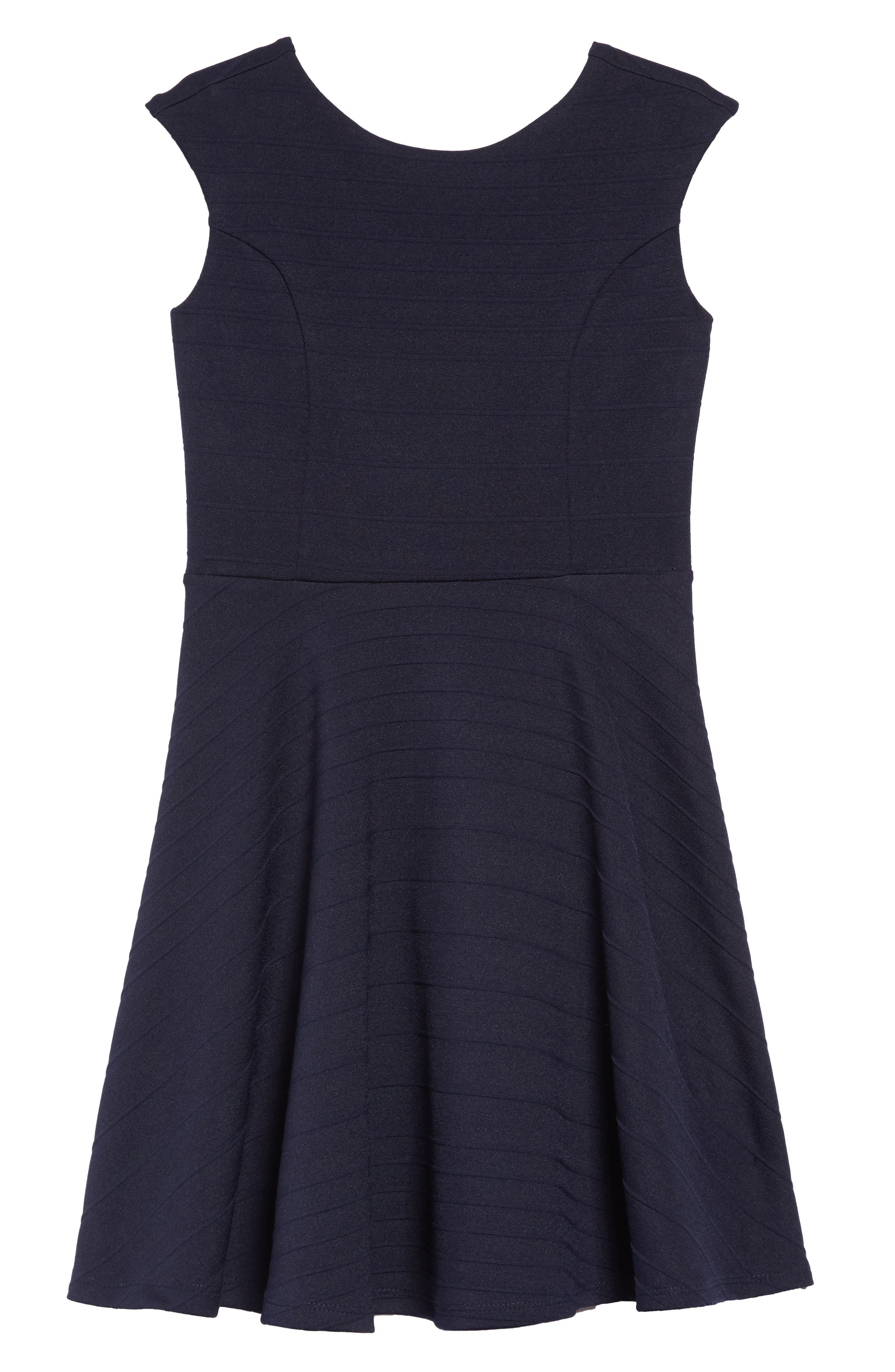 UN DEUX TROIS Stripe Fit & Flare Dress, Main, color, NAVY