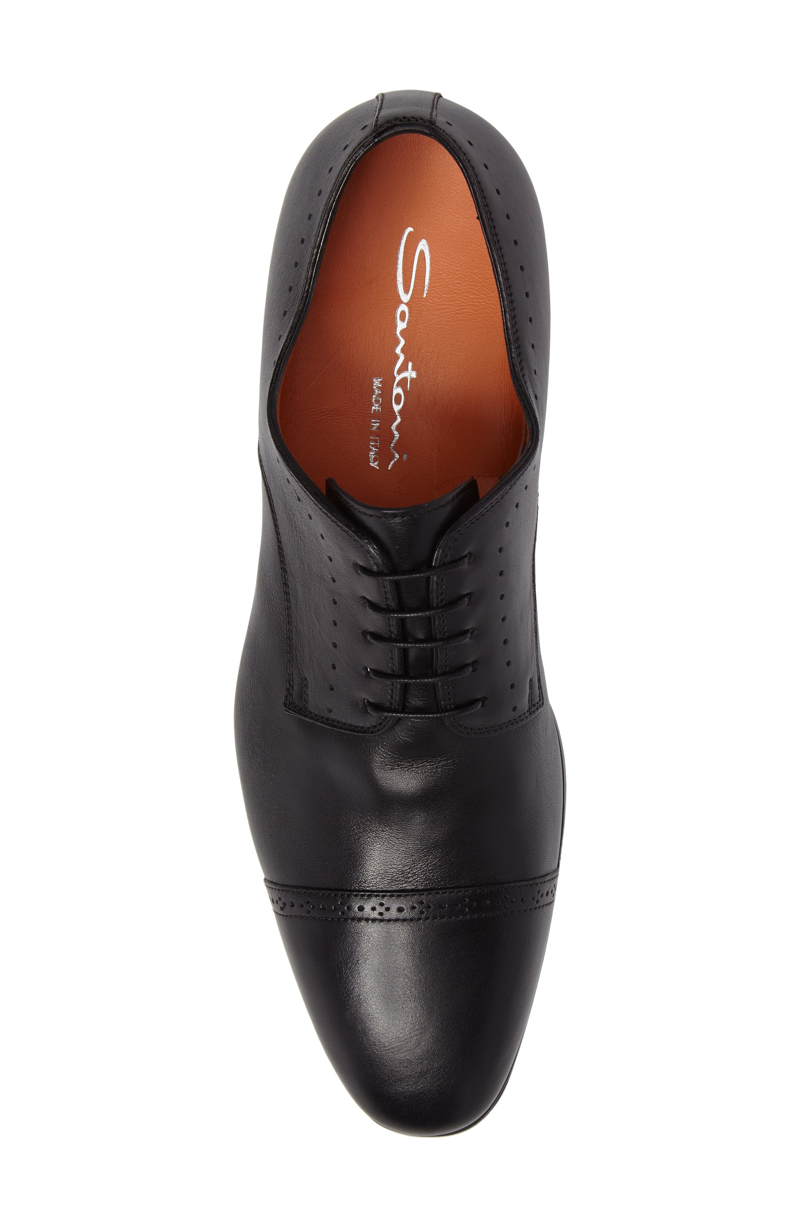 SANTONI, Gareth Cap Toe Derby, Alternate thumbnail 5, color, BLACK LEATHER
