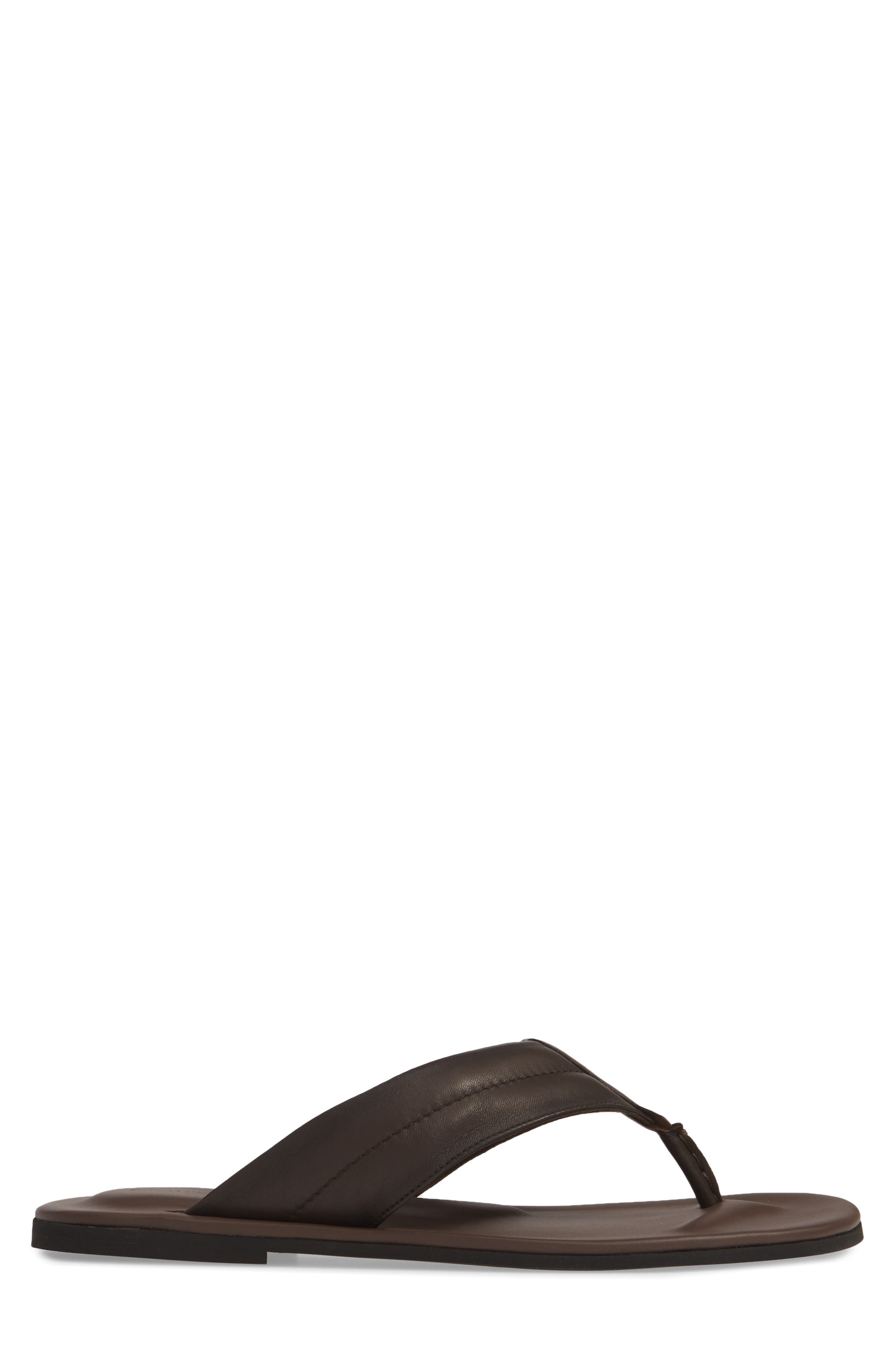 TO BOOT NEW YORK, Grande Flip Flop, Alternate thumbnail 3, color, BROWN LEATHER