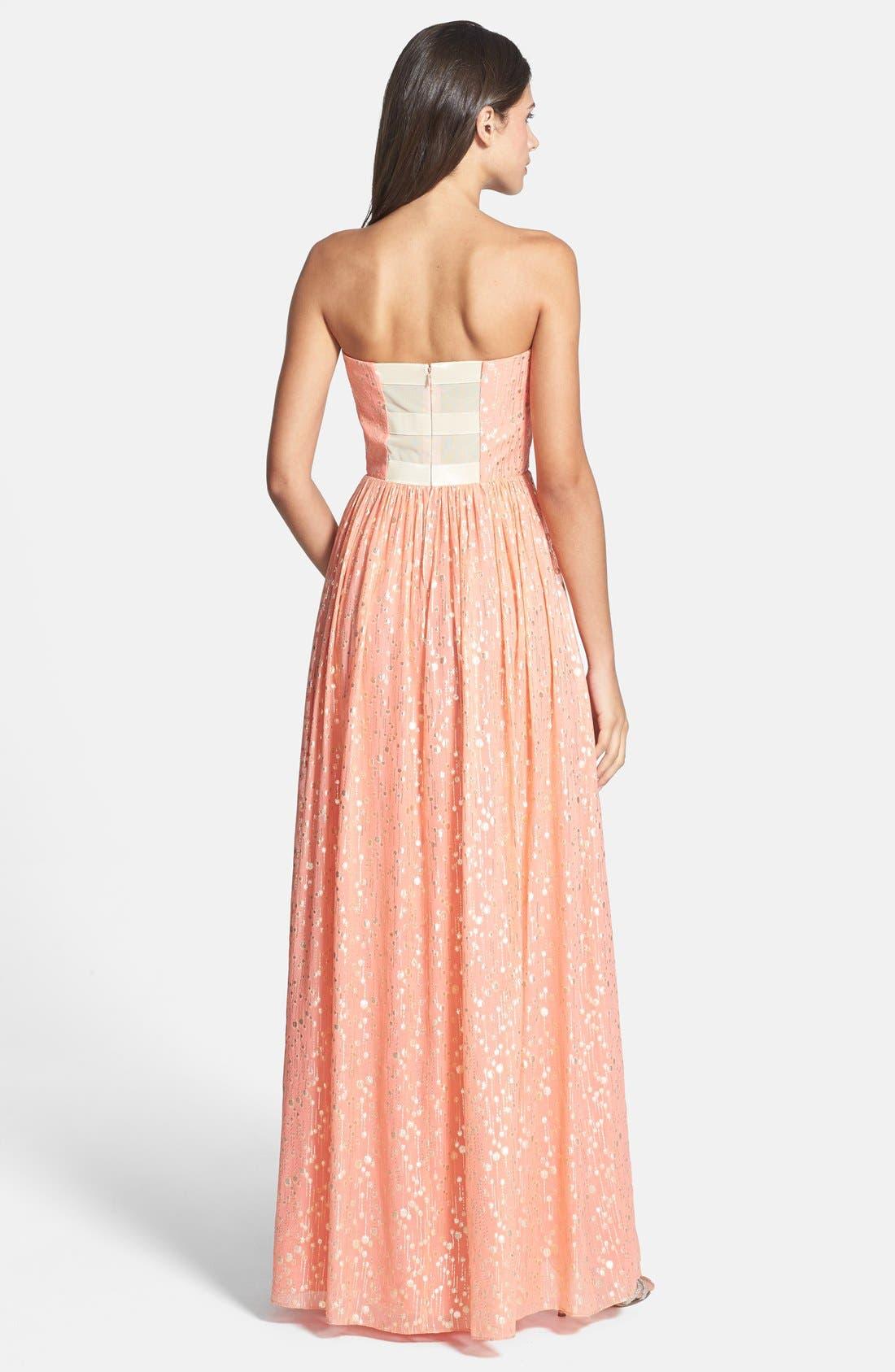 ERIN ERIN FETHERSTON, 'Monique' Foiled Silk Chiffon Gown, Alternate thumbnail 3, color, 950