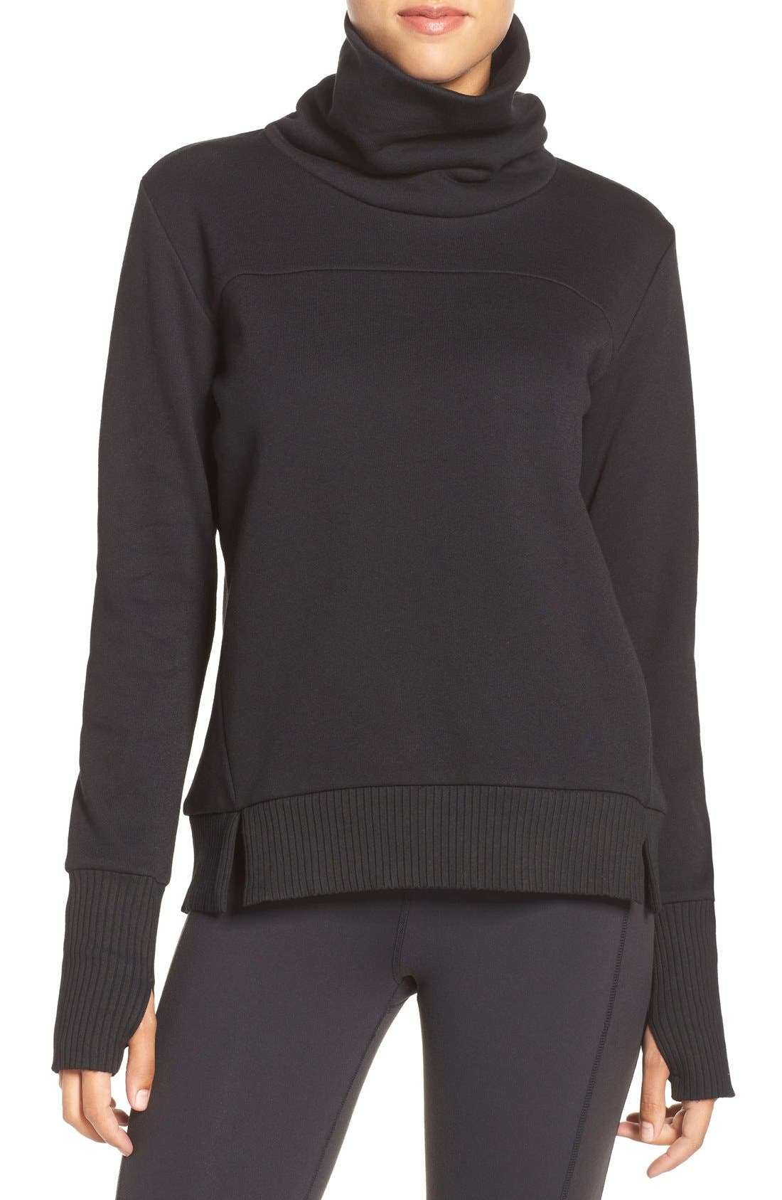 ALO 'Haze' Funnel Neck Sweatshirt, Main, color, 001