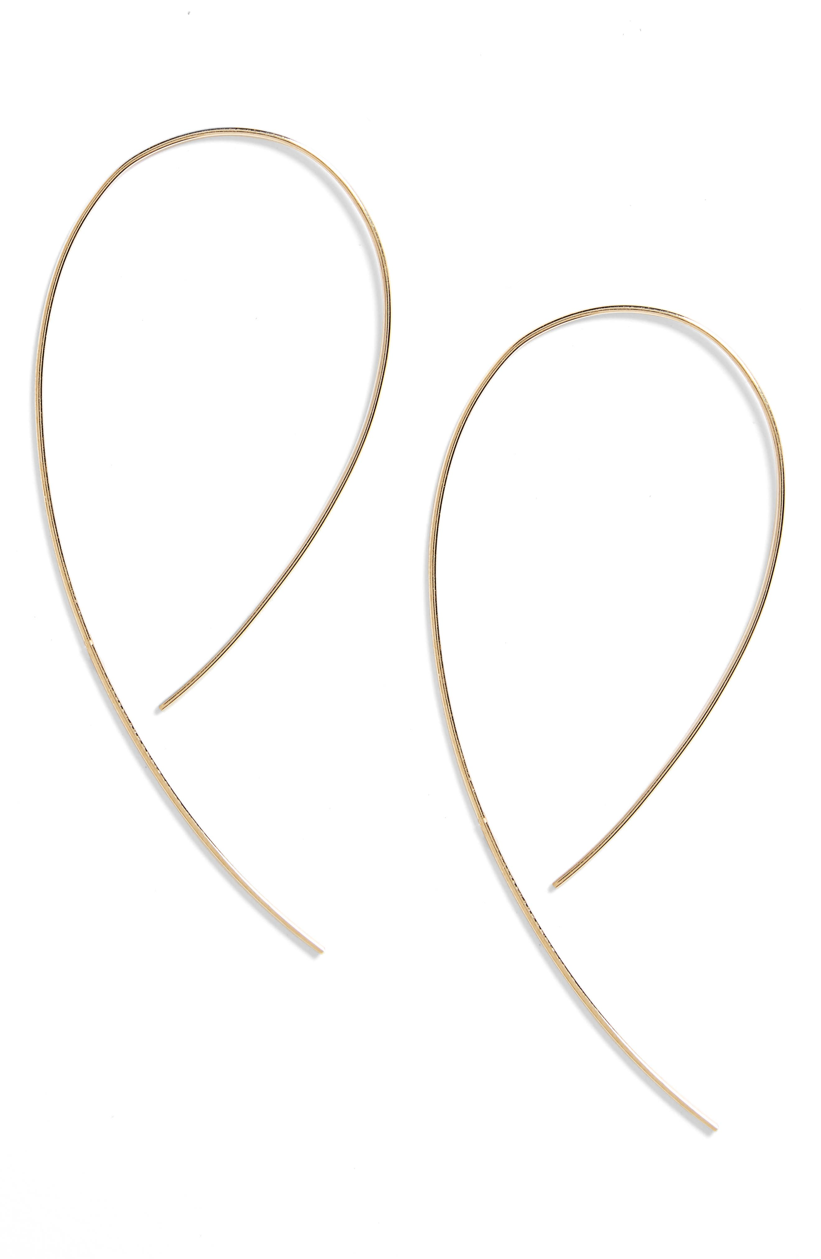 LANA JEWELRY, 'Hooked on Hoop' Earrings, Main thumbnail 1, color, YELLOW GOLD