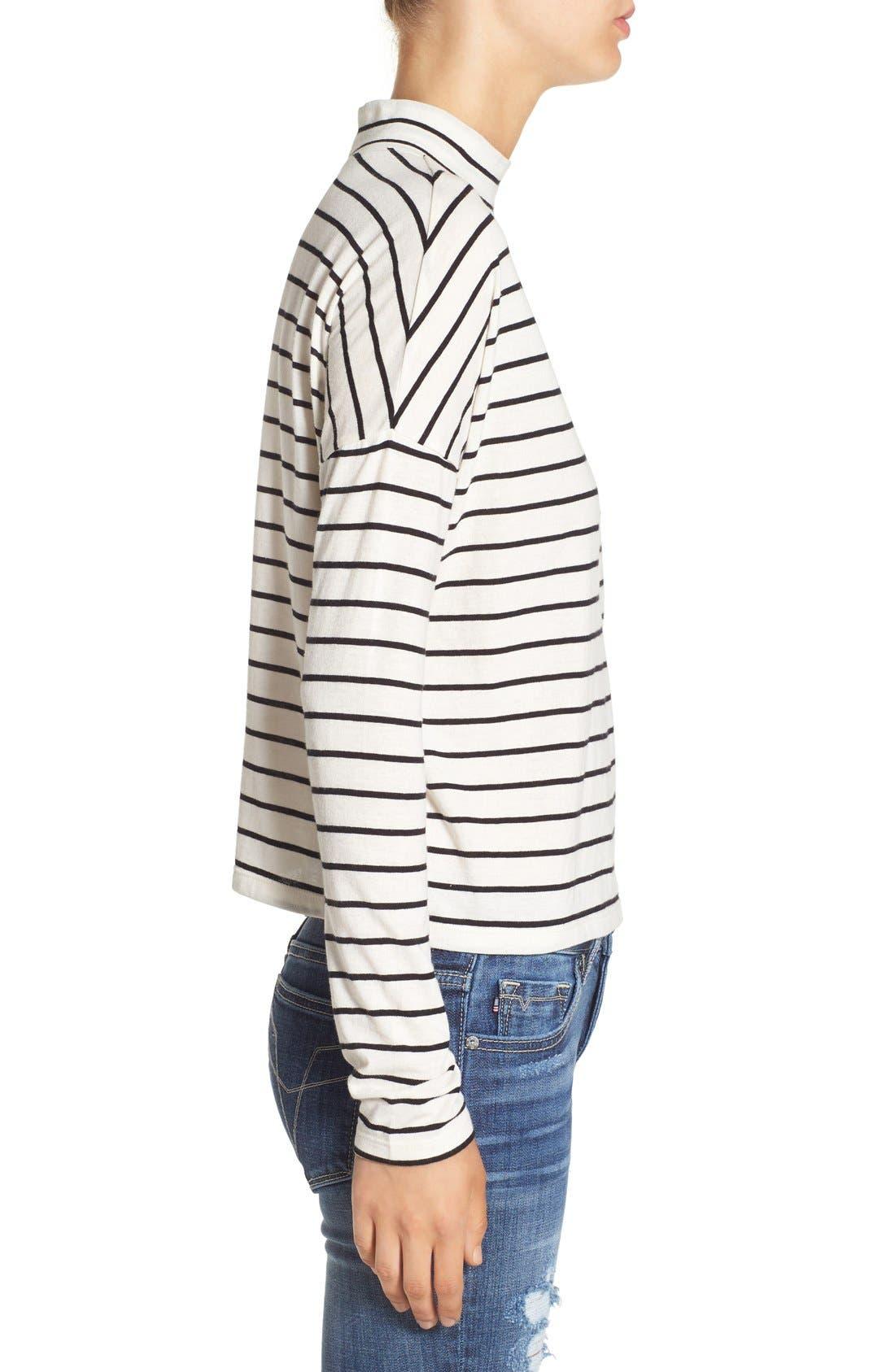 BP., Stripe Long Sleeve Mock Neck Tee, Alternate thumbnail 2, color, 900