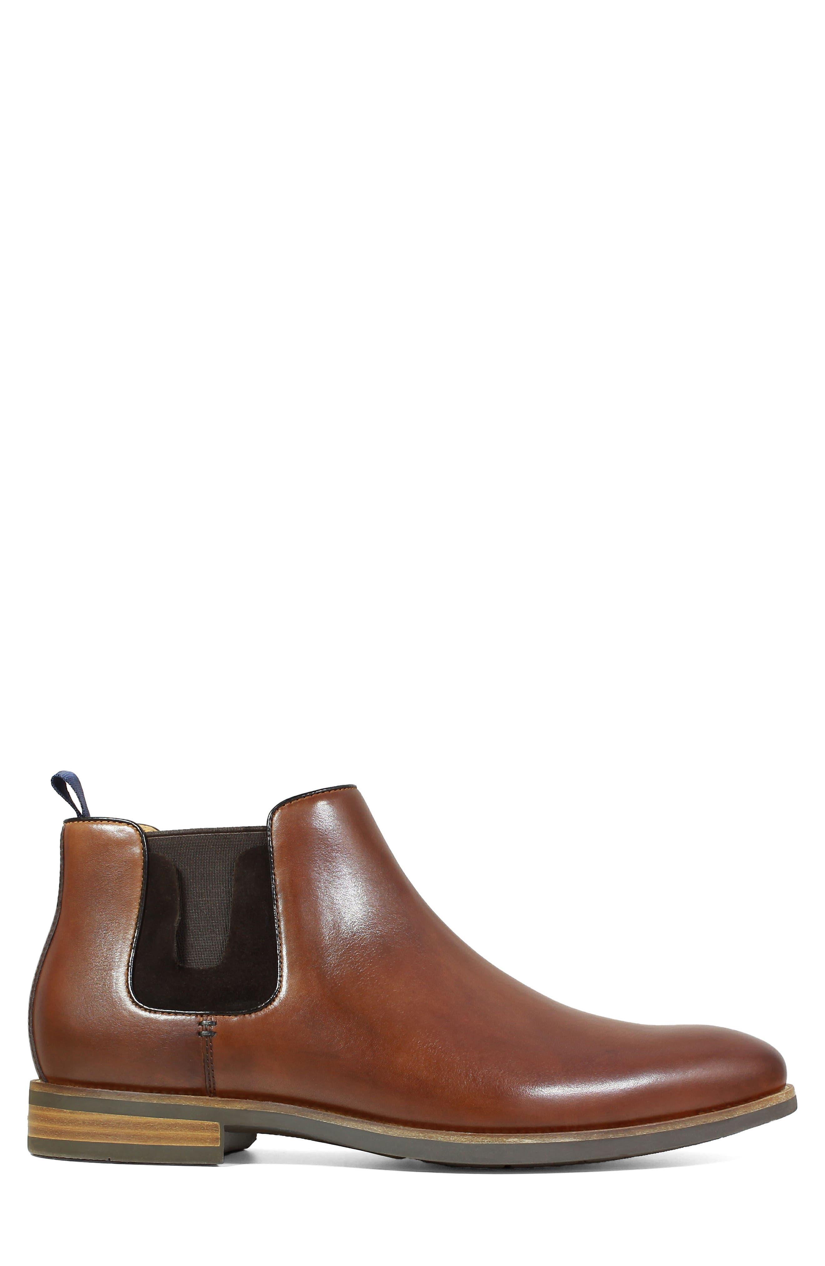 FLORSHEIM, Uptown Plain Toe Mid Chelsea Boot, Alternate thumbnail 3, color, COGNAC LEATHER