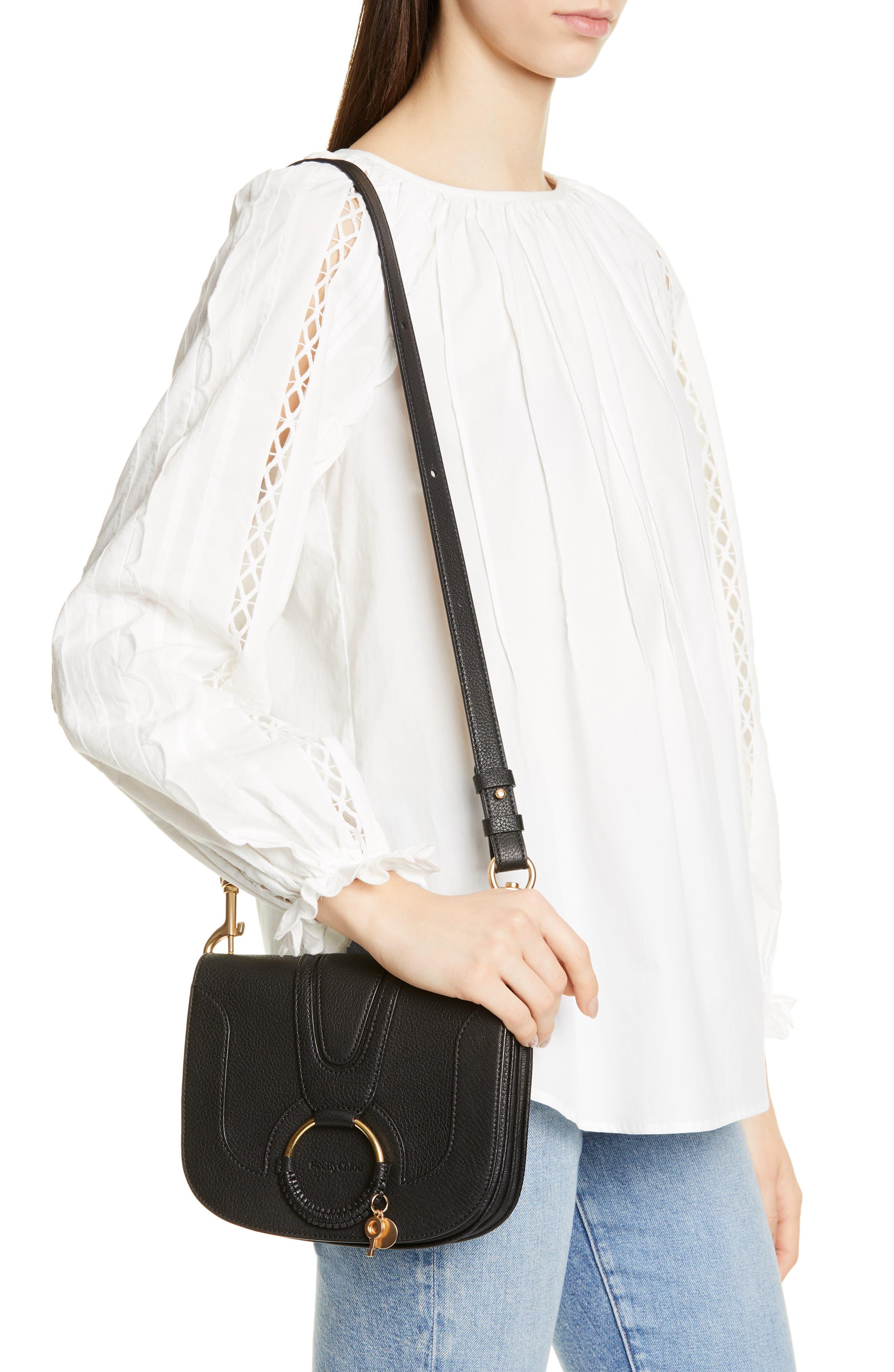 SEE BY CHLOÉ, Hana Small Leather Crossbody Bag, Alternate thumbnail 2, color, 001