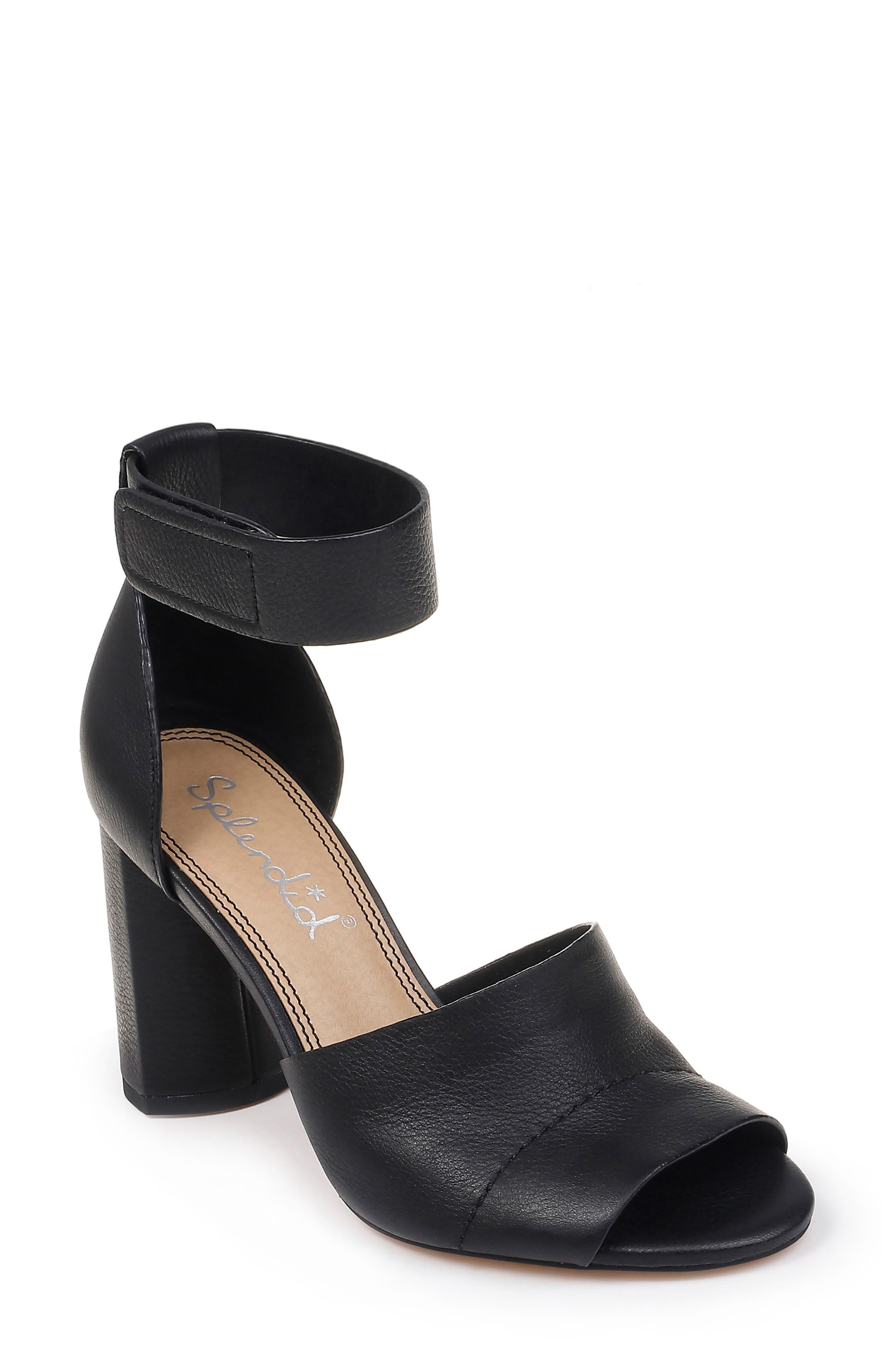 SPLENDID, Thandie Ankle Strap Sandal, Main thumbnail 1, color, BLACK NUBUCK LEATHER