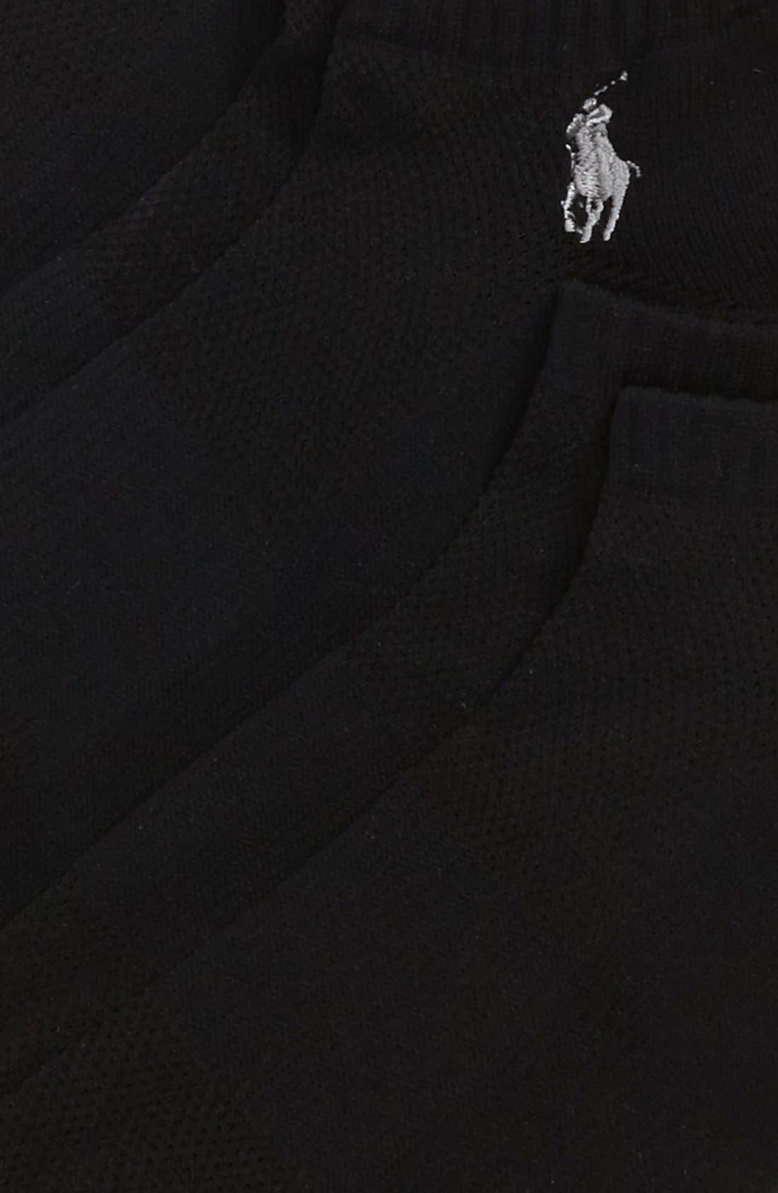 POLO RALPH LAUREN, 3-Pack Technical Sport Socks, Alternate thumbnail 3, color, BLACK