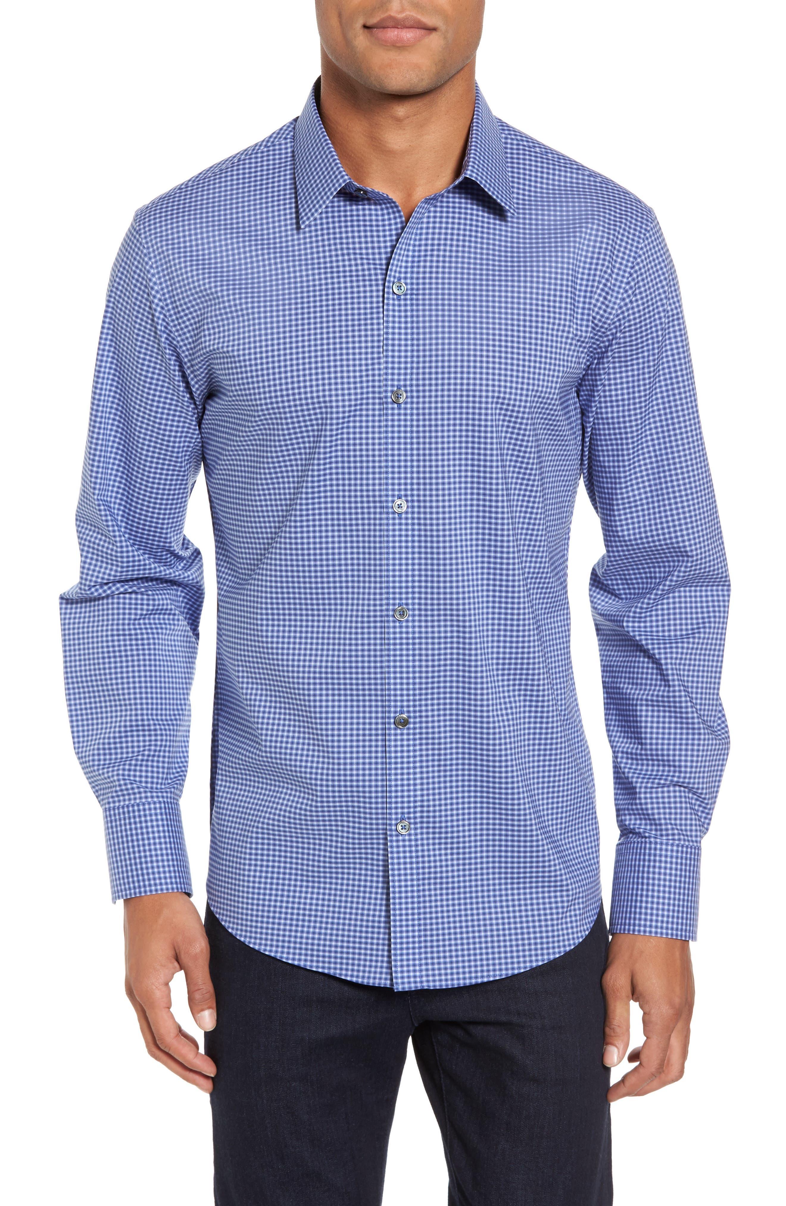 ZACHARY PRELL, Ramon Regular Fit Mini Check Sport Shirt, Main thumbnail 1, color, BLUE