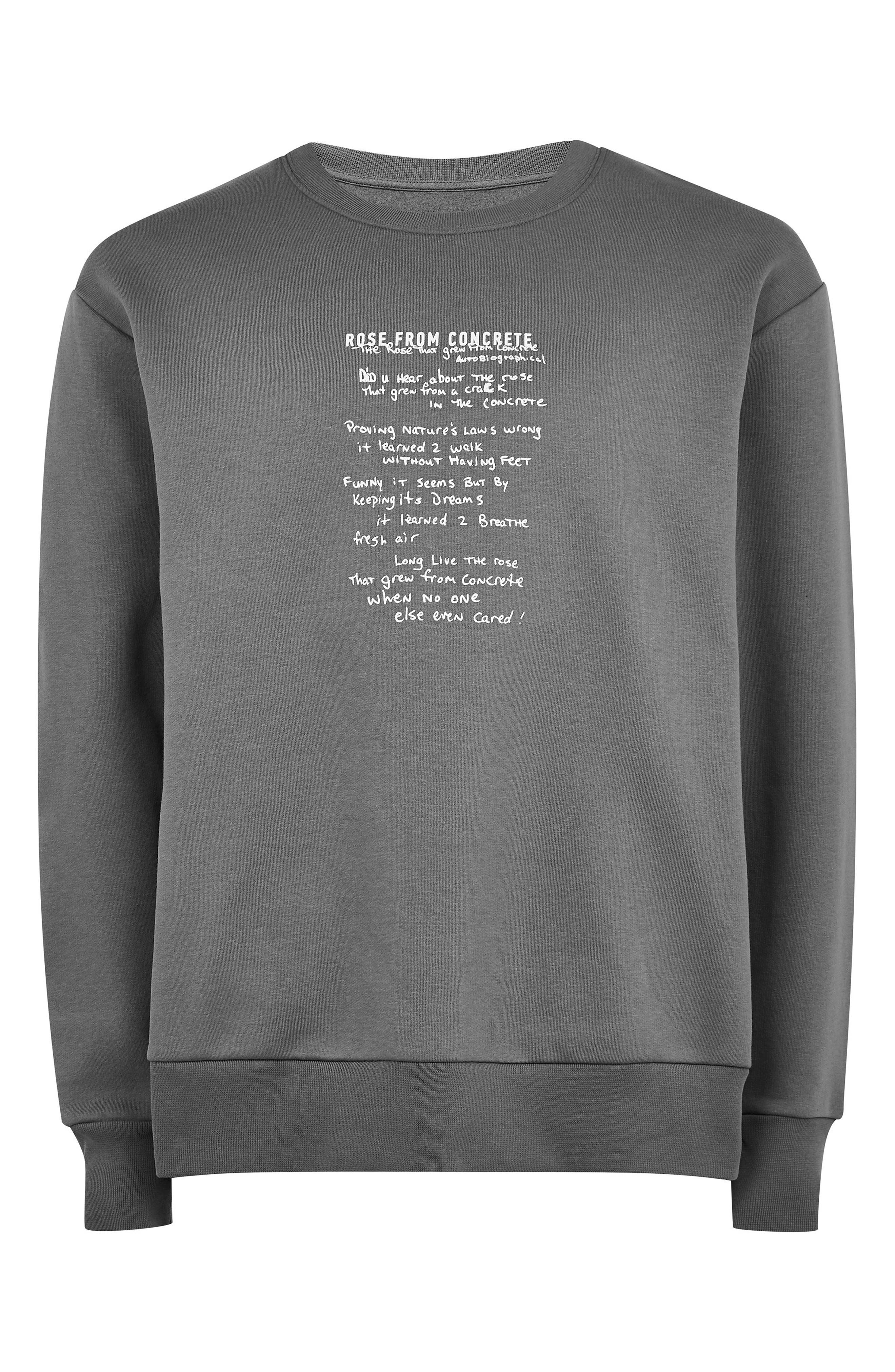 TOPMAN, 2Pac The Rose That Grew from Concrete Graphic Sweatshirt, Alternate thumbnail 3, color, GREY