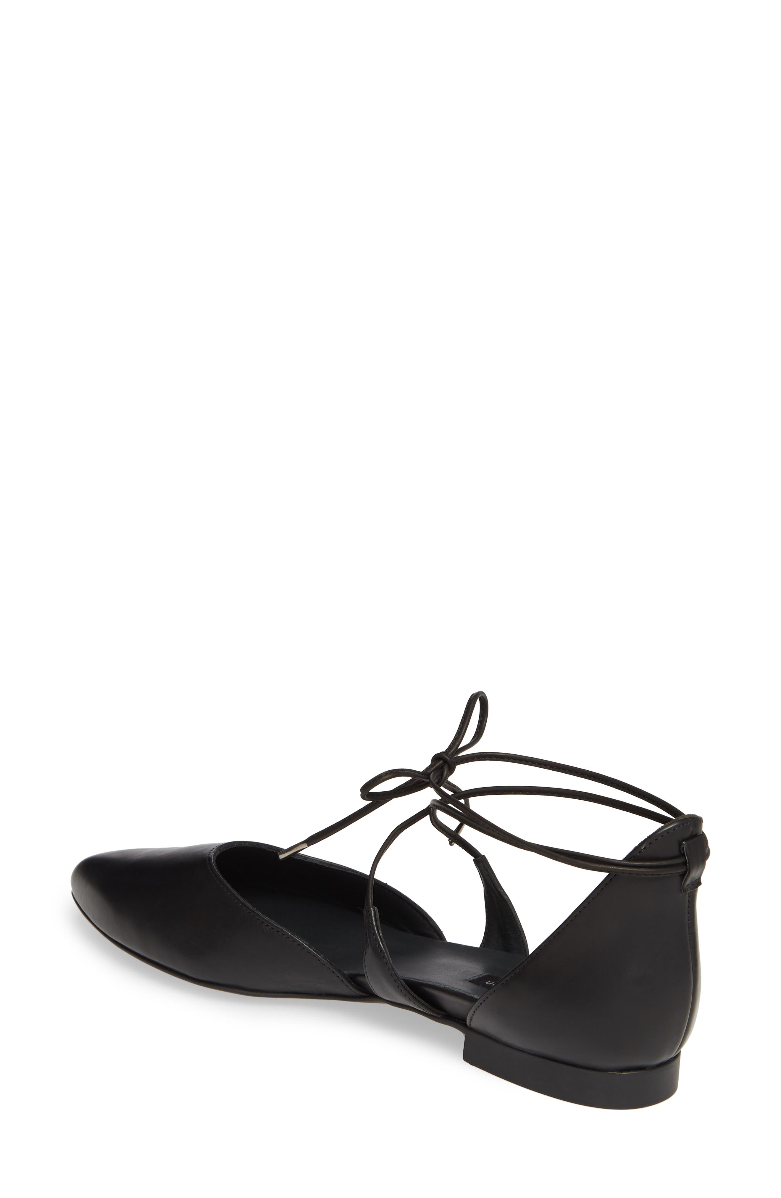 PAUL GREEN, Lace Up Flat, Alternate thumbnail 2, color, BLACK LEATHER