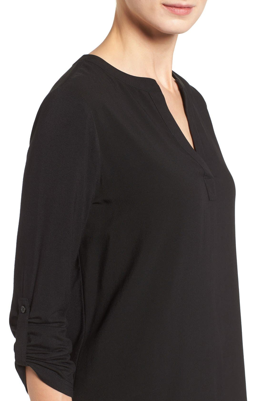 PLEIONE, Split Neck Roll Sleeve Tunic, Alternate thumbnail 2, color, 001