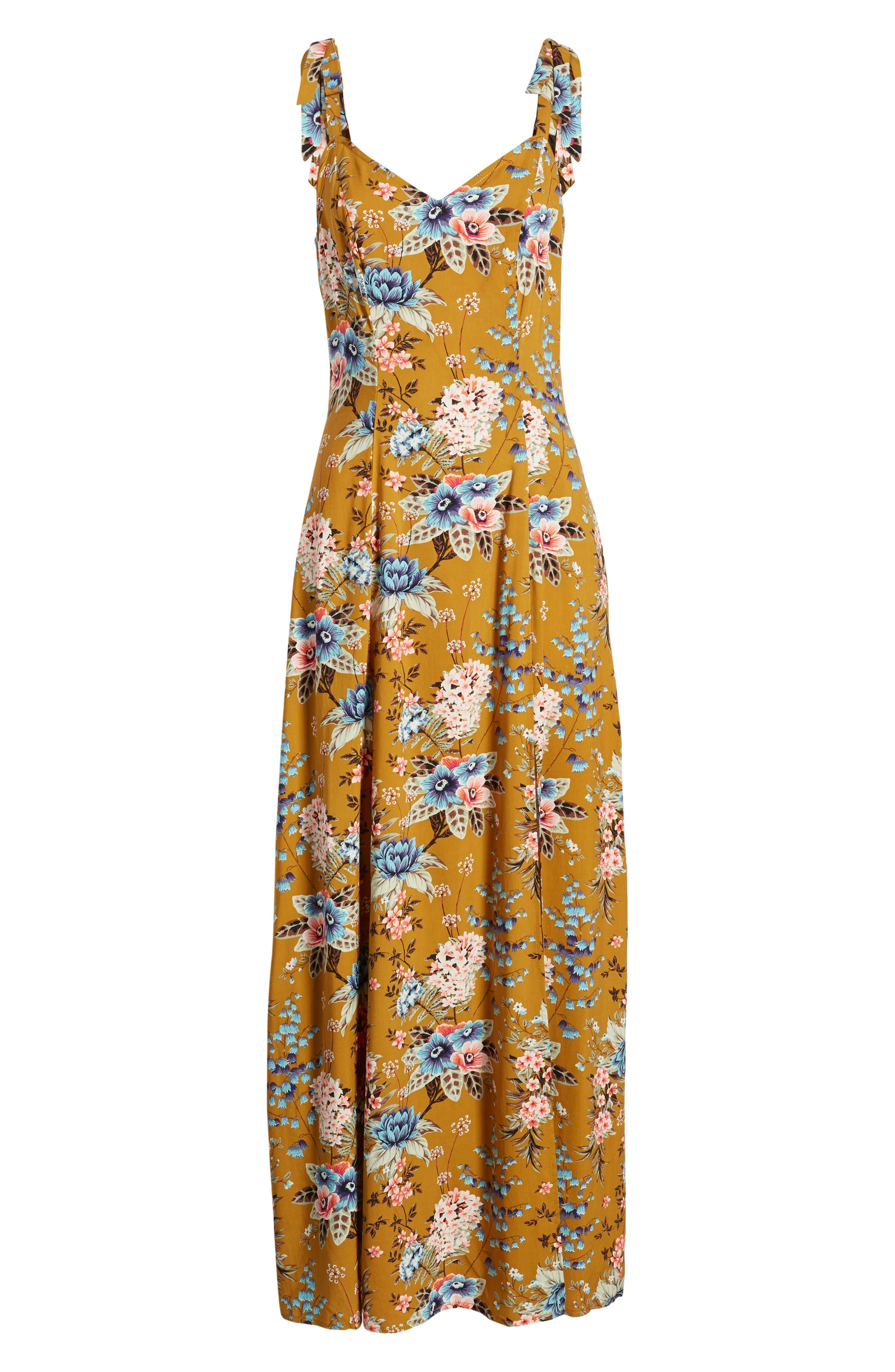 BP., Floral Tie Strap Maxi Dress, Alternate thumbnail 7, color, BROWN BRONZE KRISTA FLORAL