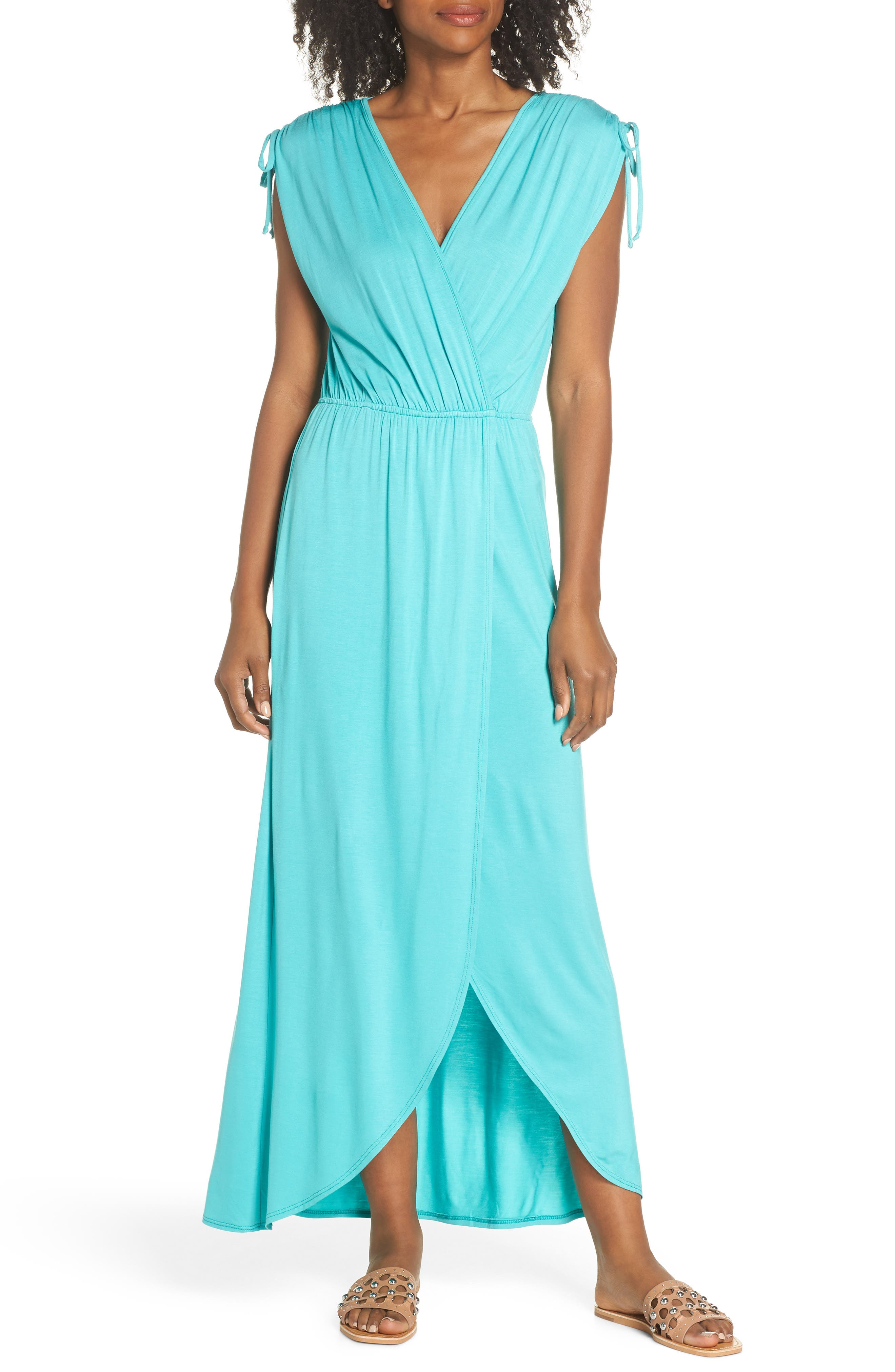 Fraiche By J Tie Shoulder Faux Wrap Maxi Dress, Green