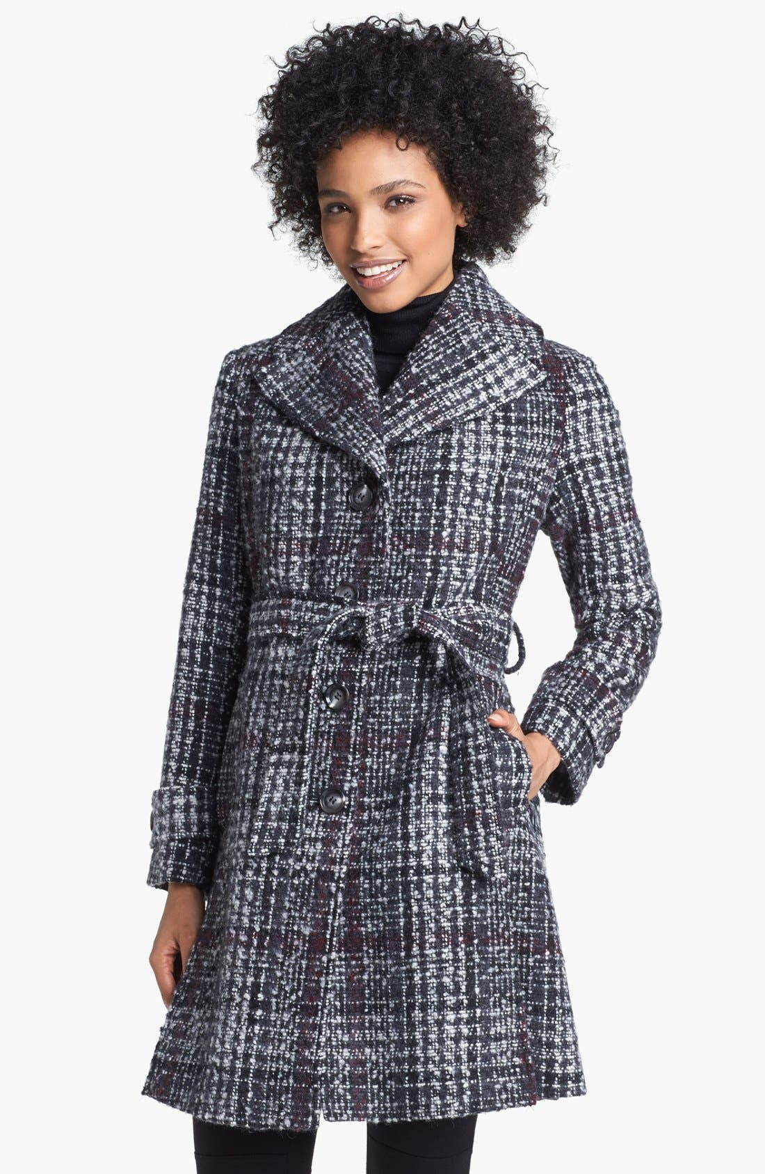 DKNY, Belted Plaid Tweed Coat, Main thumbnail 1, color, 061