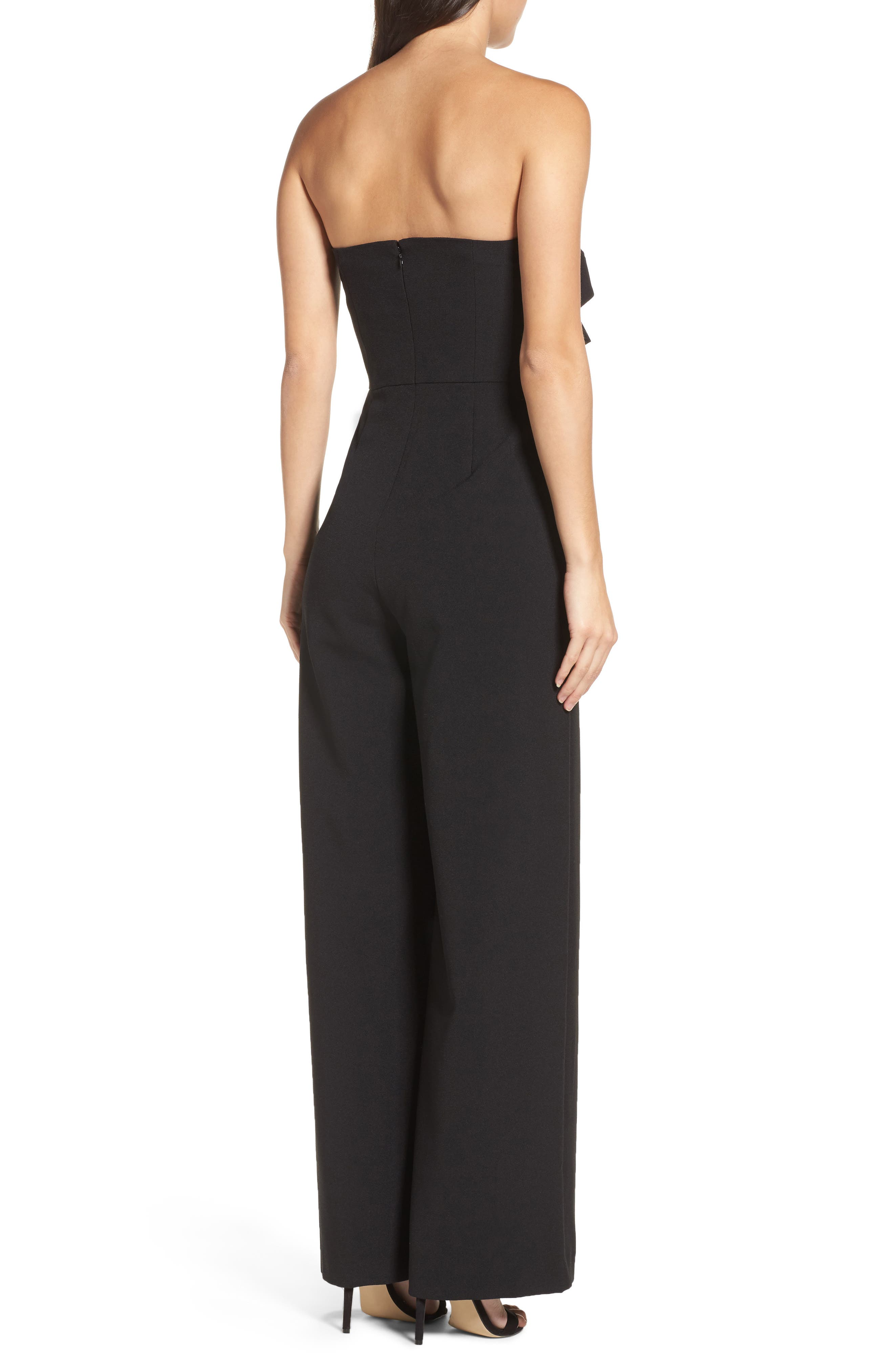 CHELSEA28, Strapless Jumpsuit, Alternate thumbnail 2, color, BLACK
