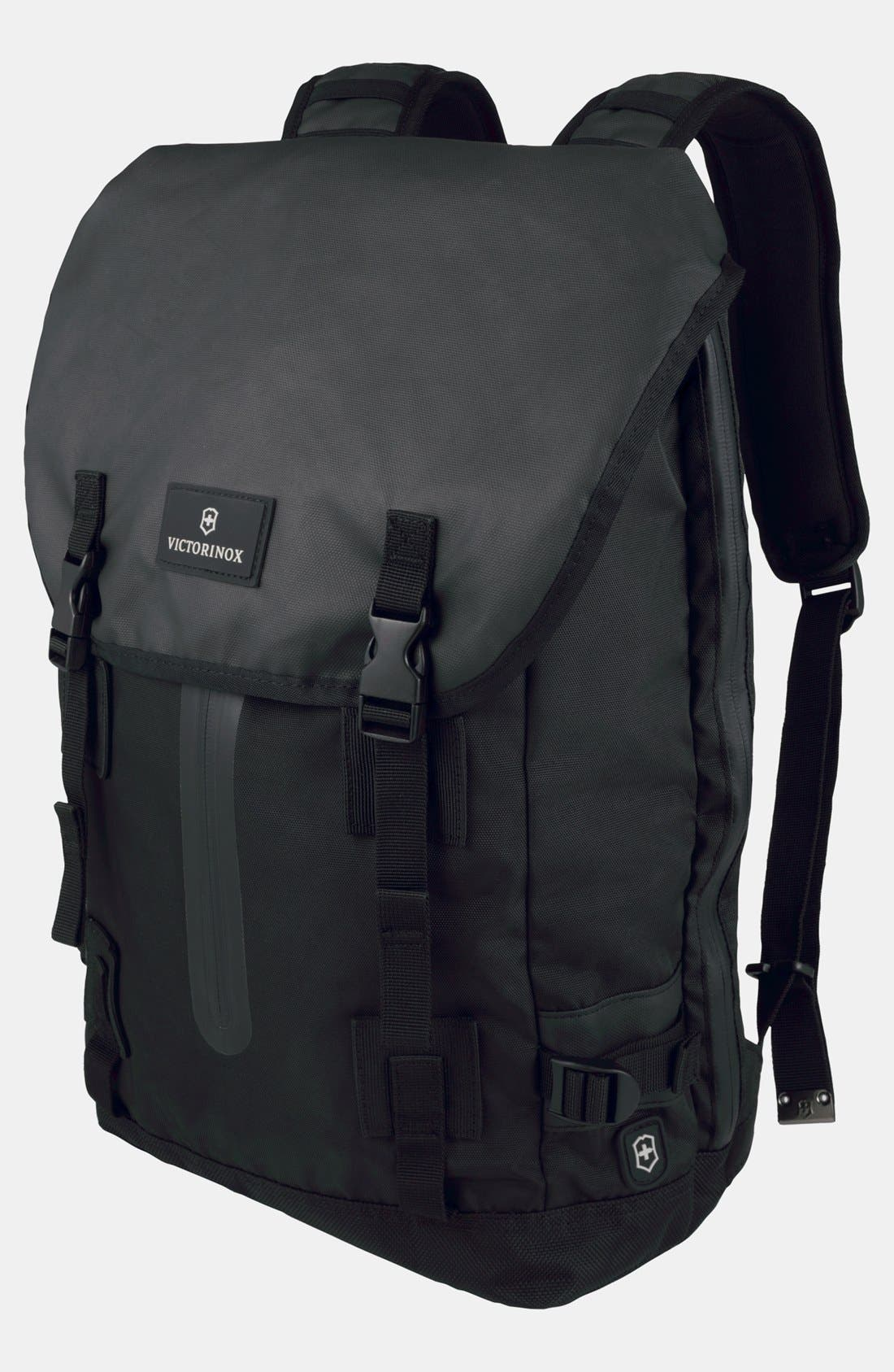 VICTORINOX SWISS ARMY<SUP>®</SUP>, Flapover Backpack, Main thumbnail 1, color, BLACK