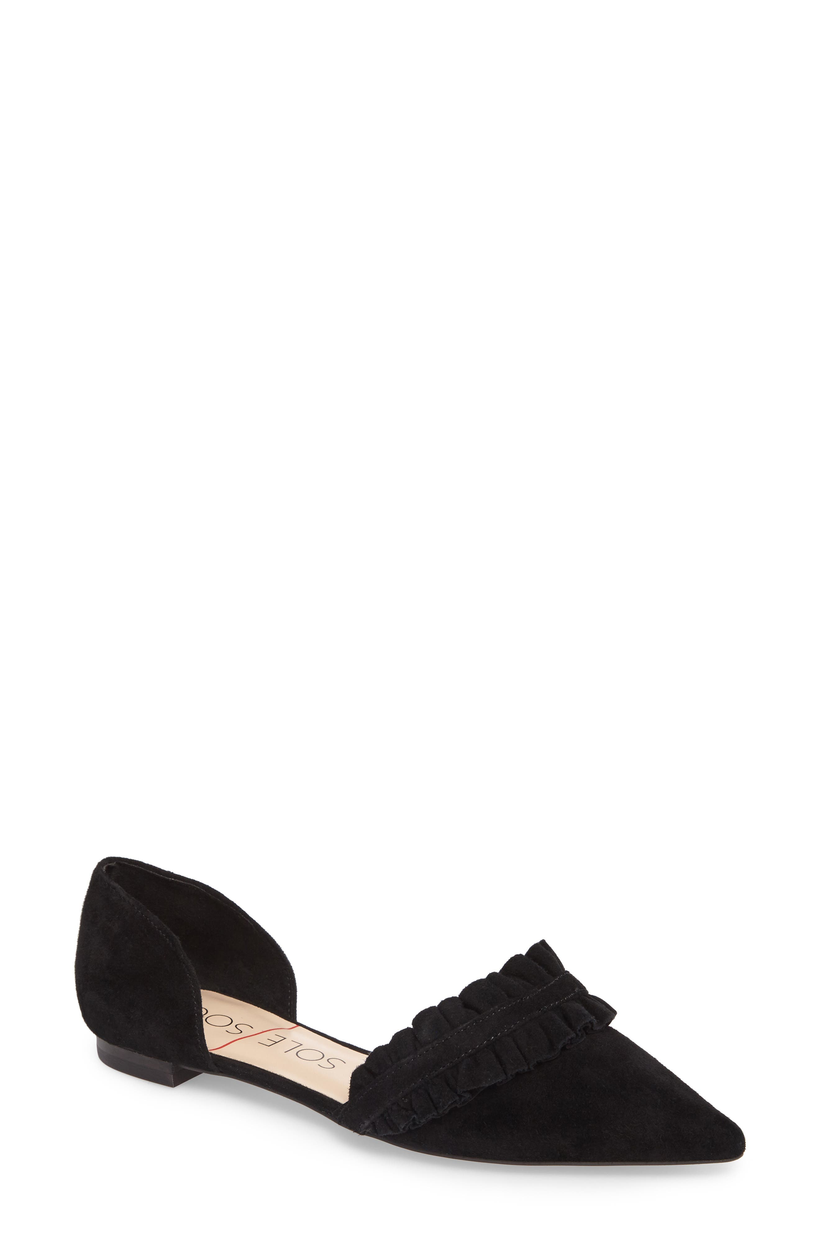 SOLE SOCIETY Rosalind Ruffle d'Orsay Flat, Main, color, 001