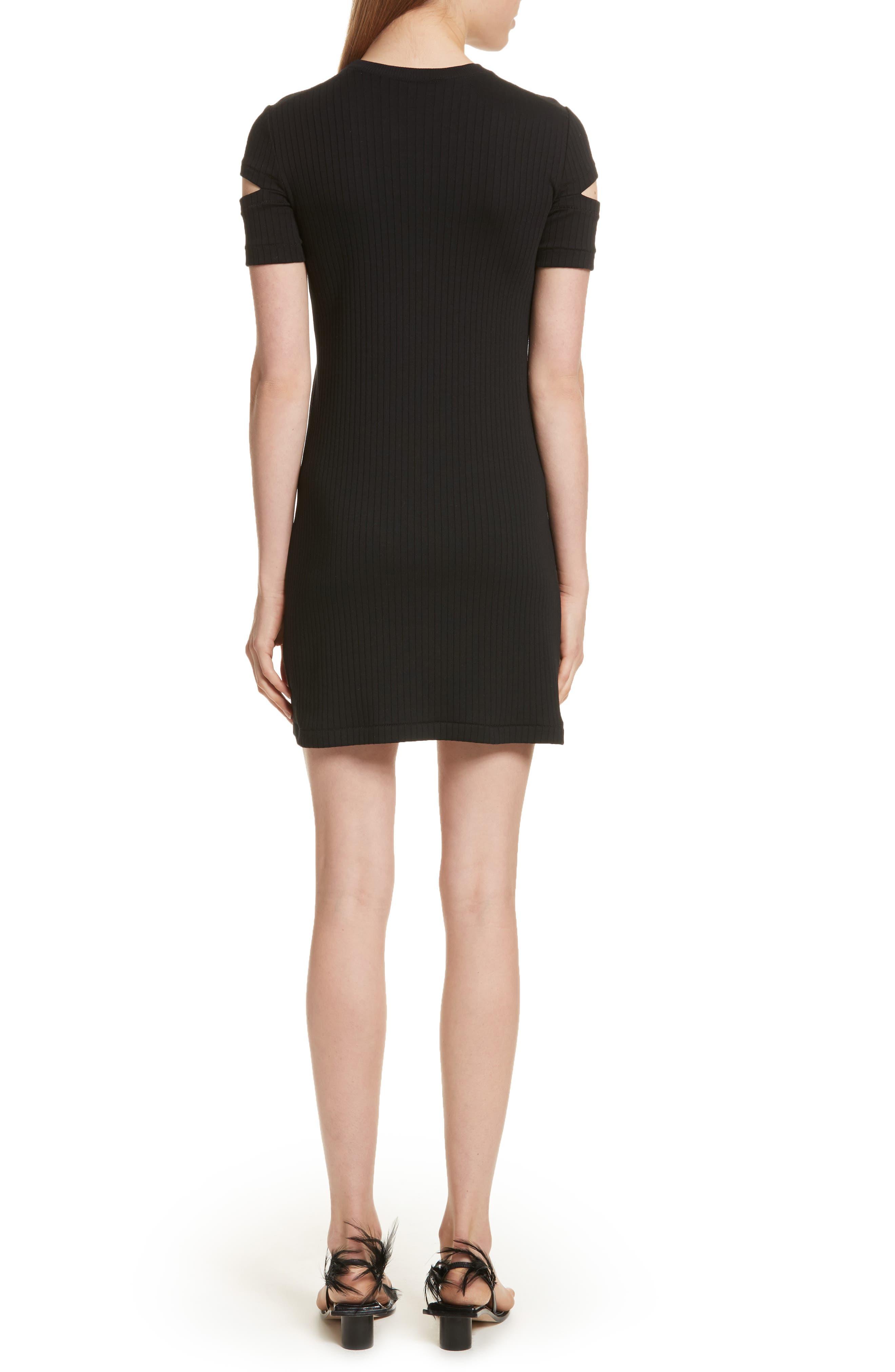 HELMUT LANG, Ribbed Slash Sleeve Dress, Alternate thumbnail 2, color, BLACK