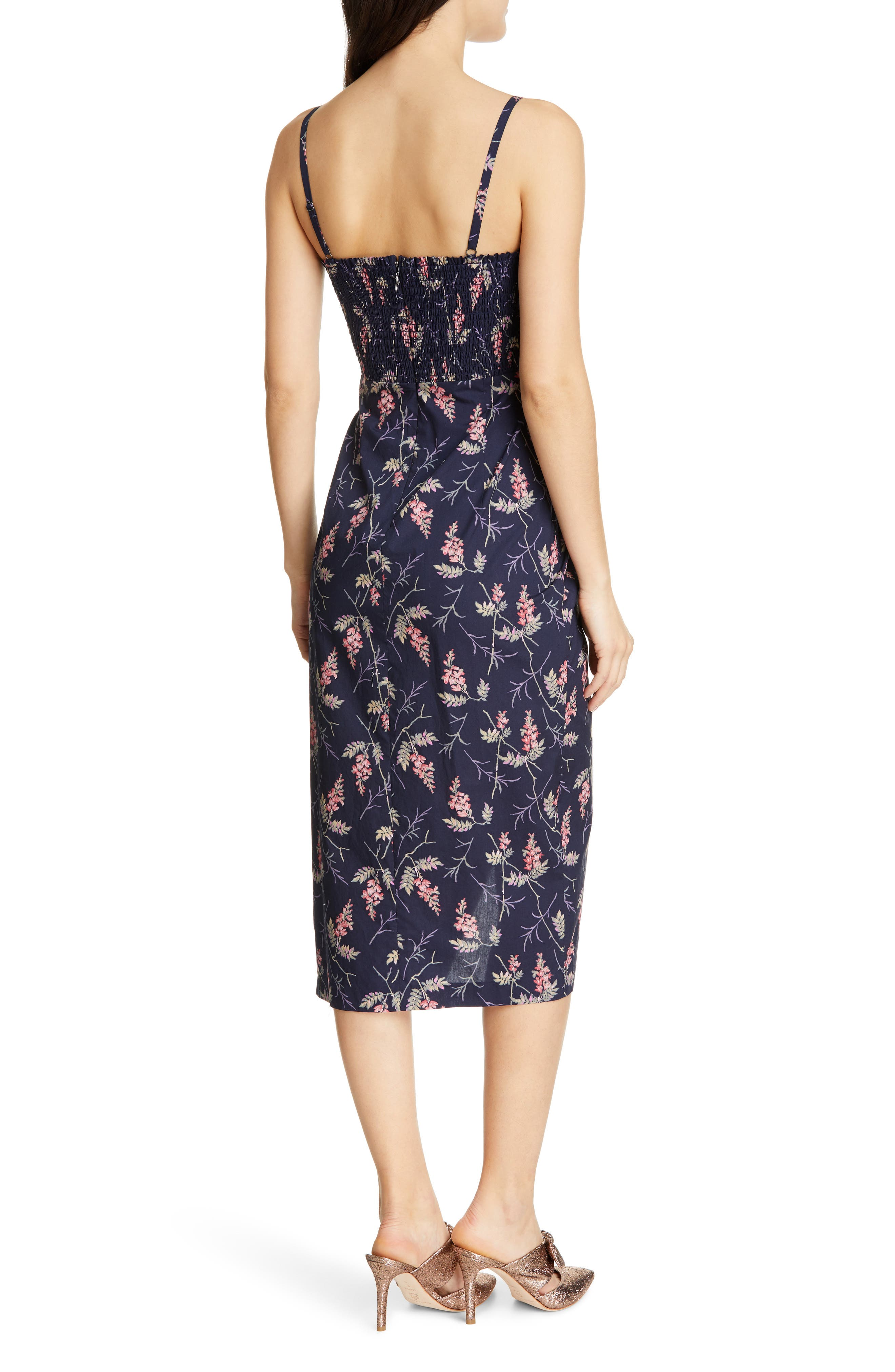 REBECCA TAYLOR, Ivie Floral Sleeveless Cotton Midi Sundress, Alternate thumbnail 2, color, NAVY COMBO
