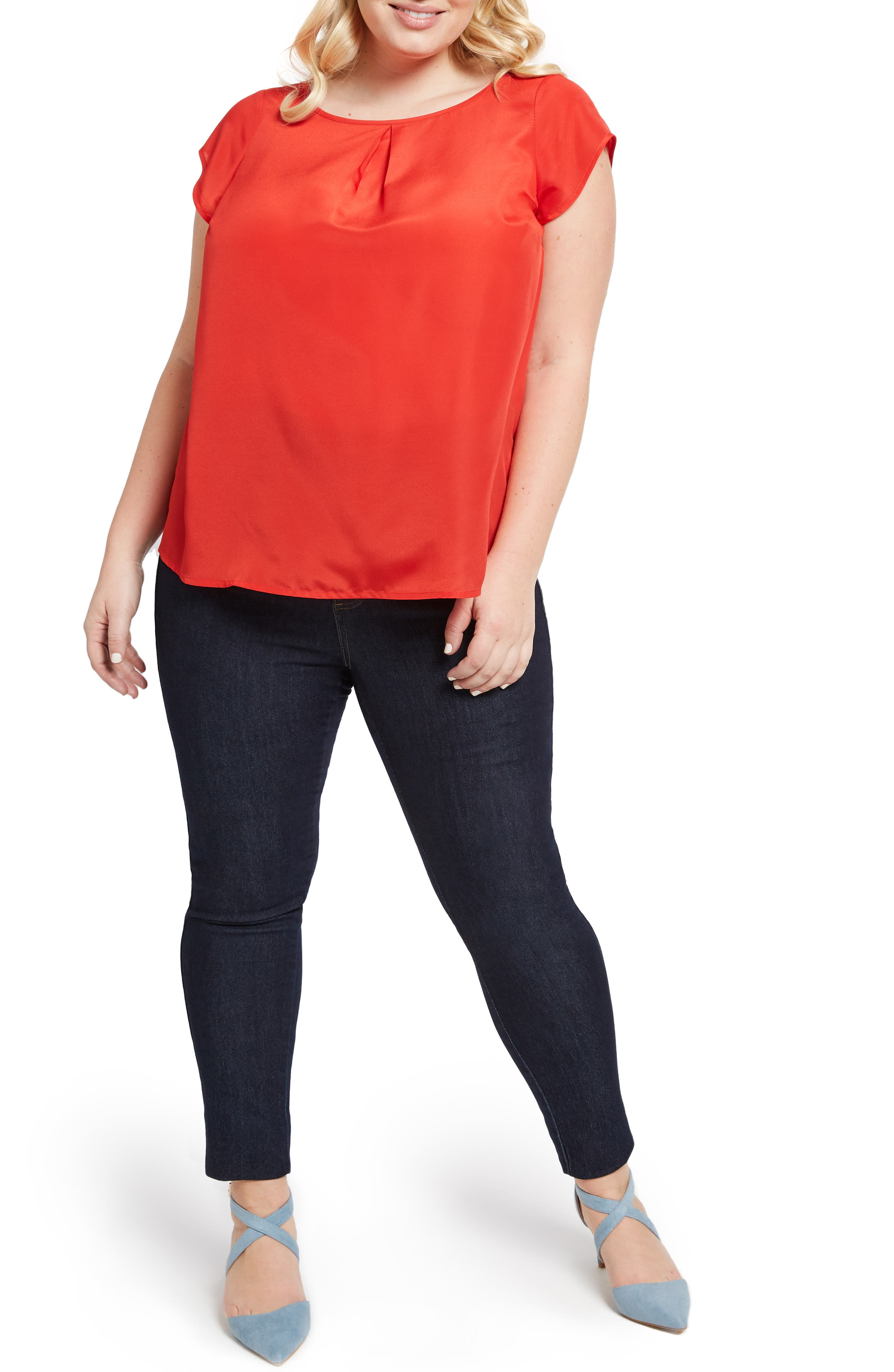 MODCLOTH, Graceful Expectations Top, Alternate thumbnail 7, color, RED SOLID