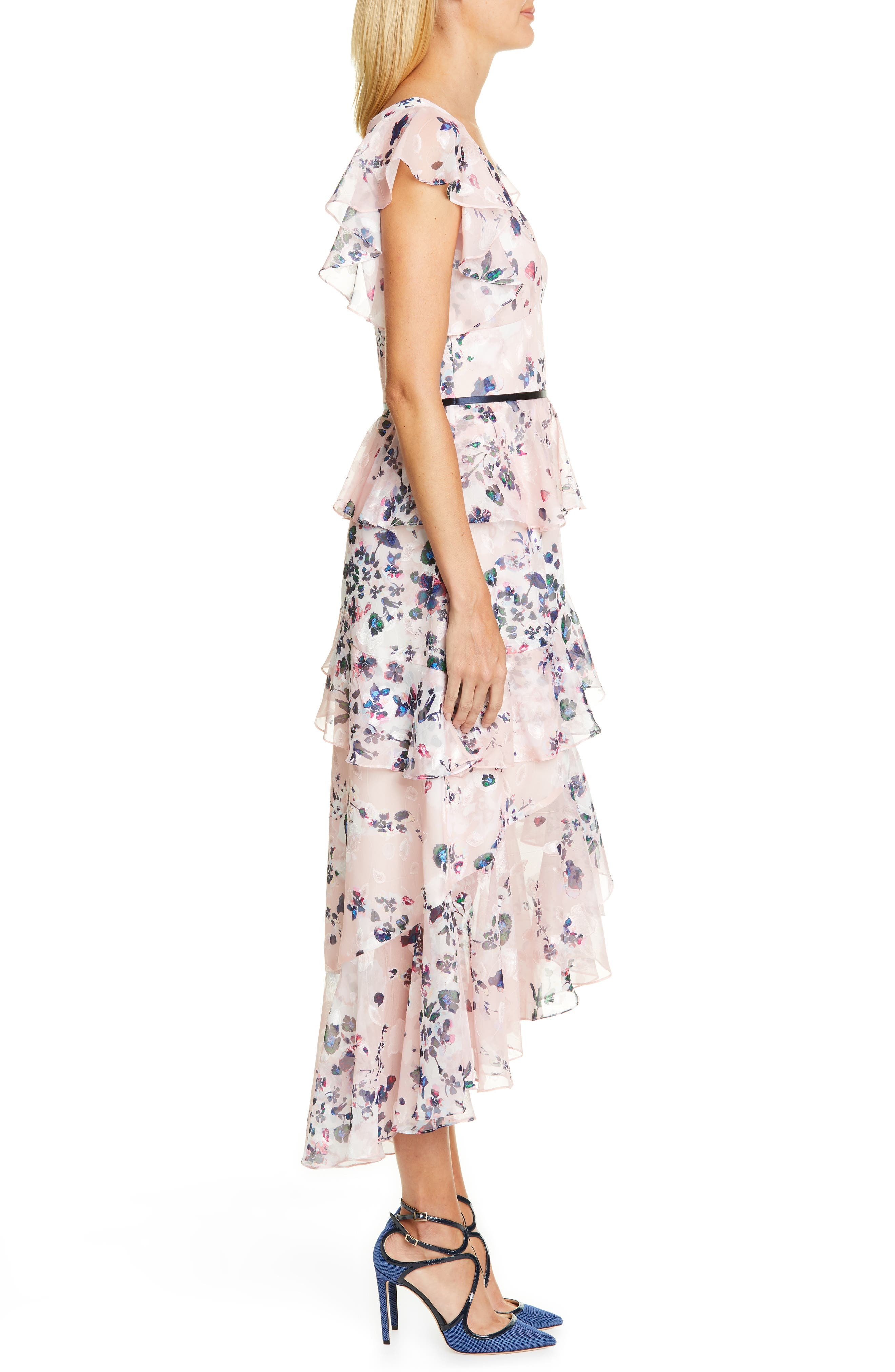 MARCHESA NOTTE, Floral Ruffle Tiered Midi Dress, Alternate thumbnail 3, color, 680