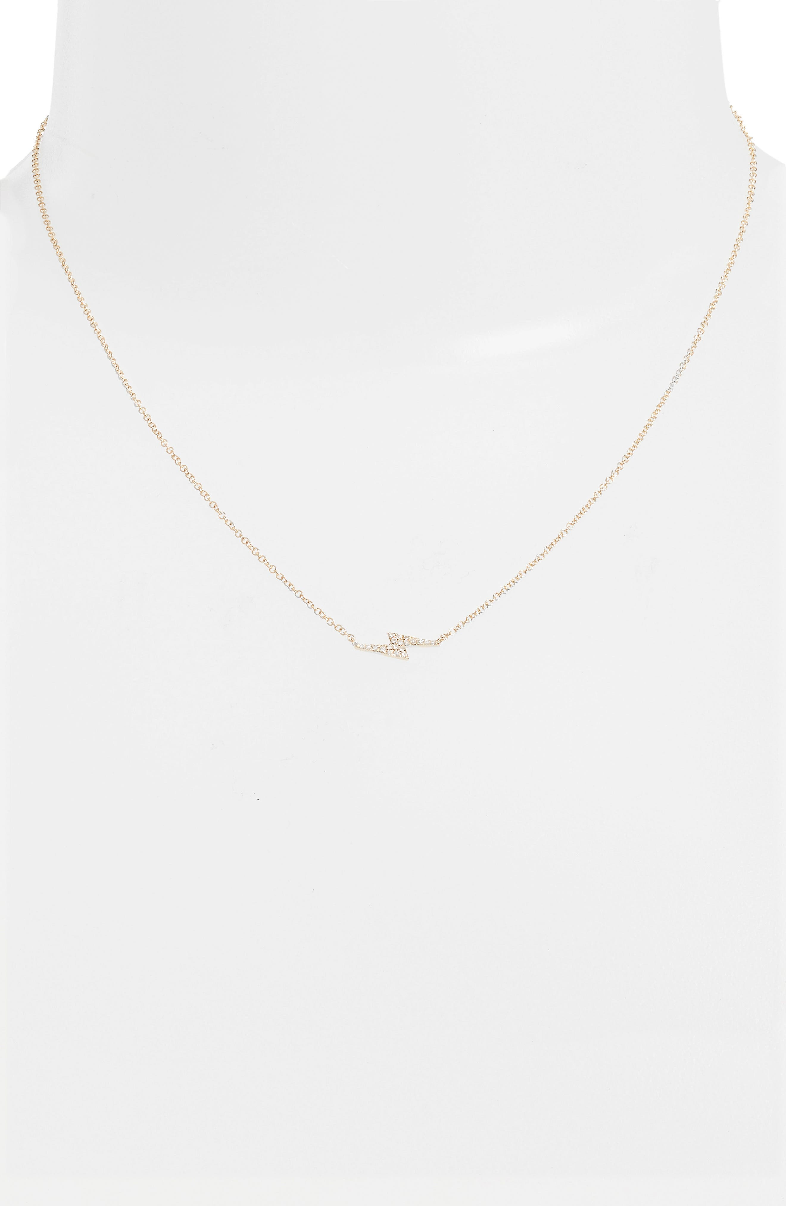 EF COLLECTION, Diamond Lightning Bolt Pendant Necklace, Alternate thumbnail 2, color, YELLOW GOLD